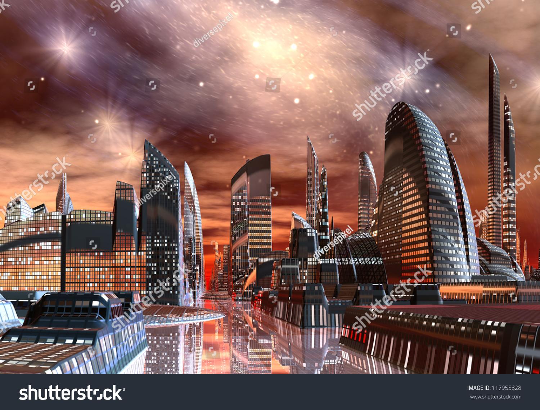 Alien City Skyline Stock Illustration 117955828