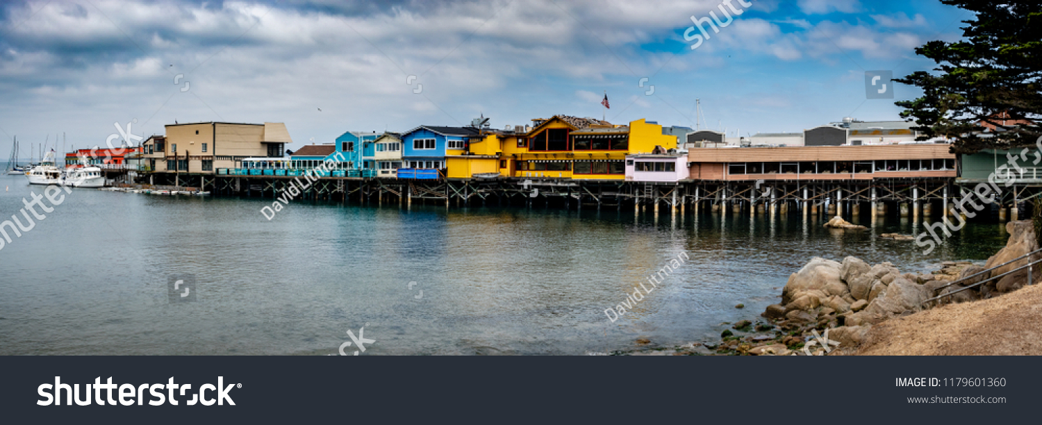The Fisherman's Wharf in Monterey California is a popular tourist destination along the central Pacific Coast with restaurants, gift shops and boating excursions.