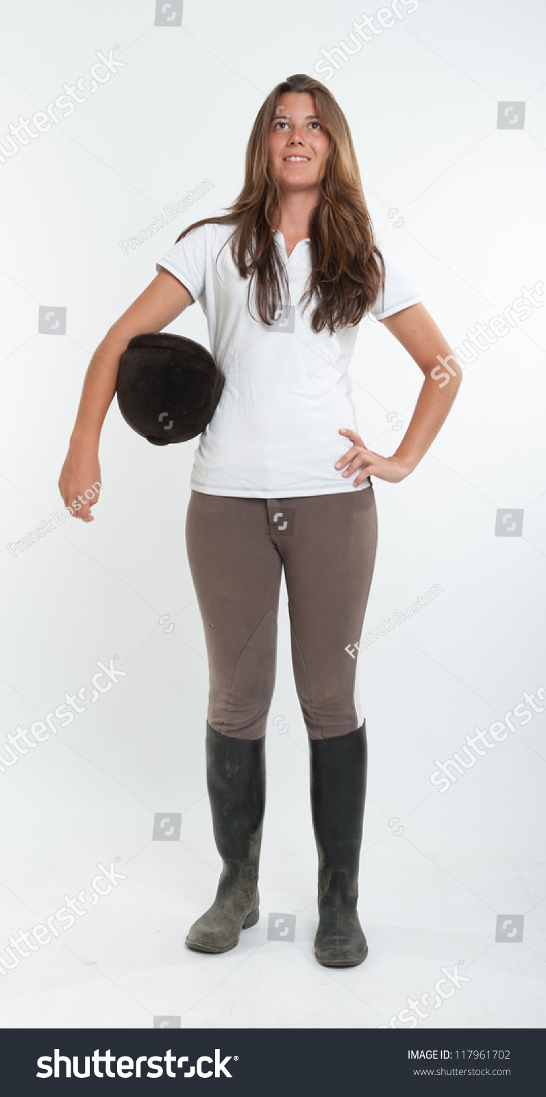 Young Woman Dressed Horse Riding Clothes Stock Photo Edit Now 117961702