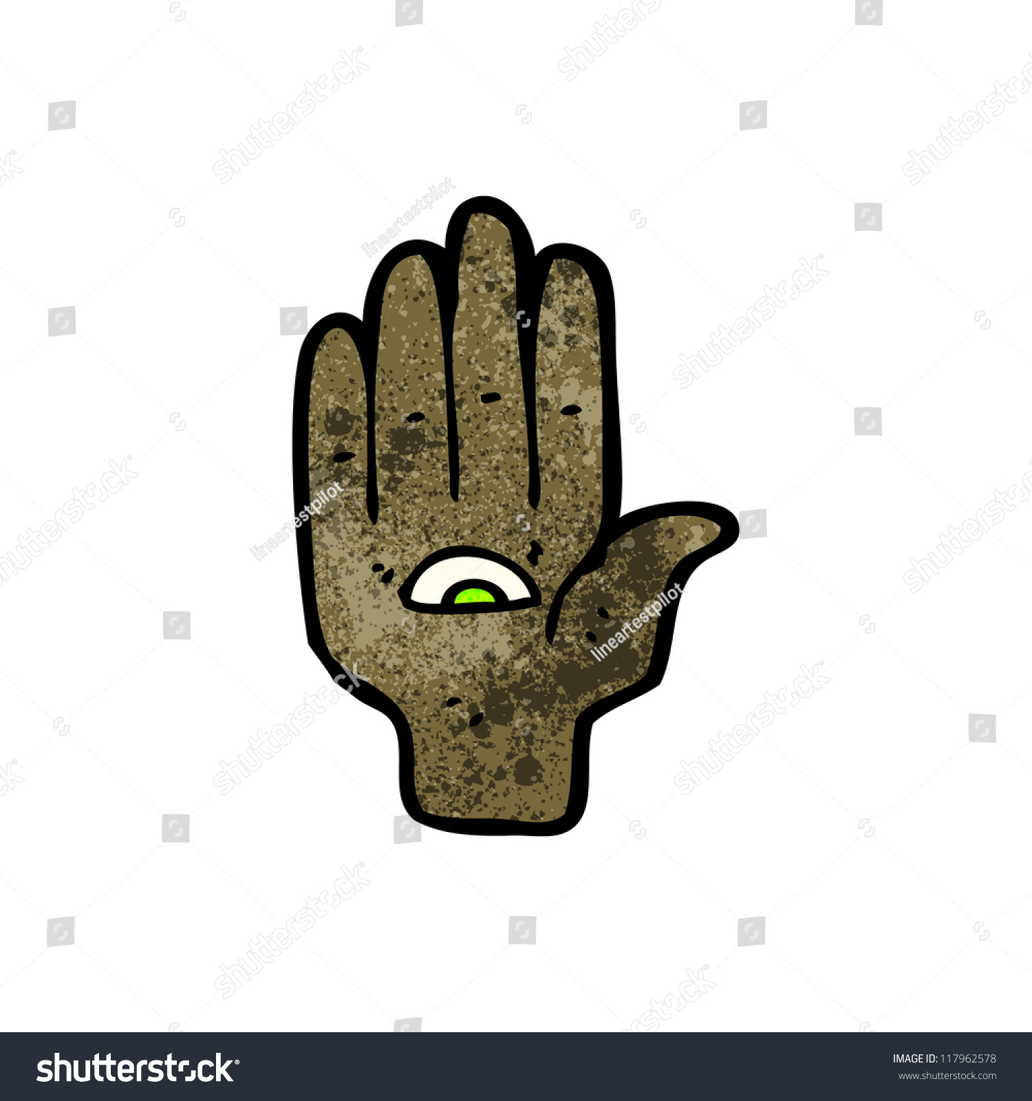 Hand Eye Cartoon Symbol Stock Vector Royalty Free 117962578