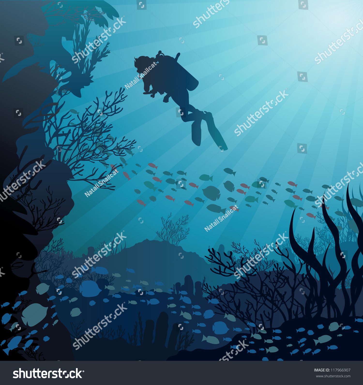 Coral Reef Background: Coral Reef Fish Silhouette Diver On Stock Vector 117966907