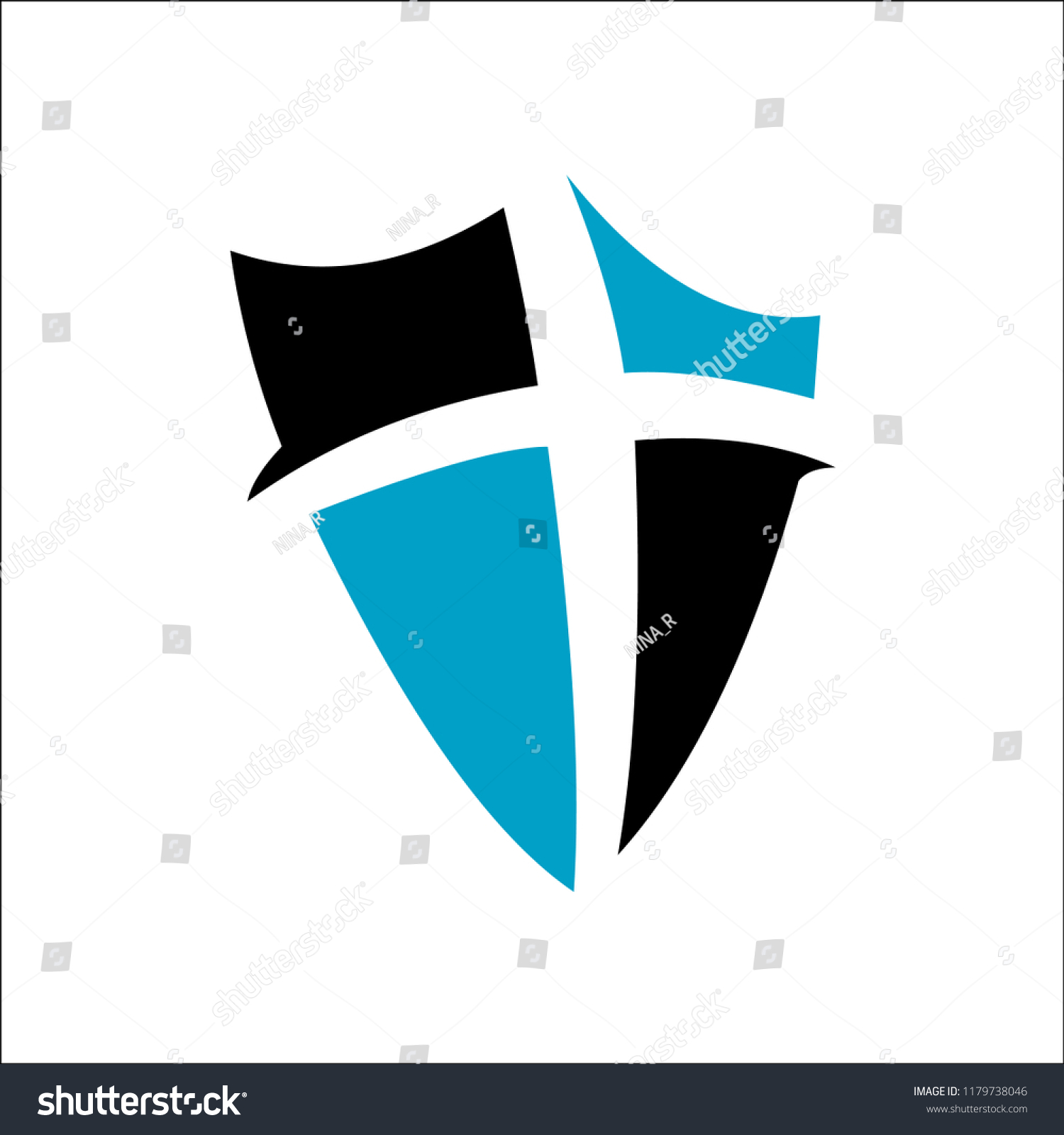 Cross Shield Faith Christian Church Vector Stock Vector Royalty