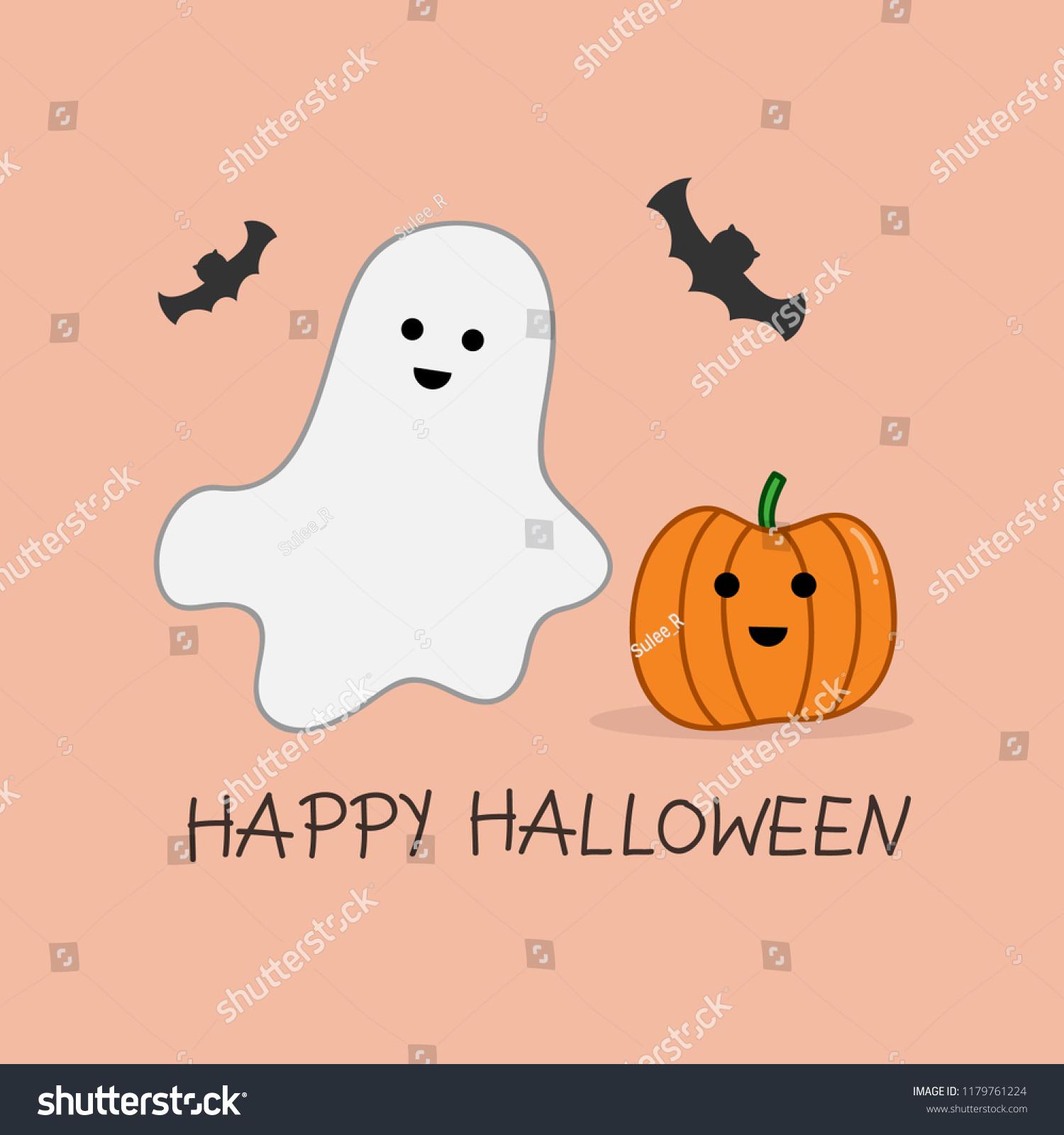 Happy halloween ghost pumpkin stock vector royalty free