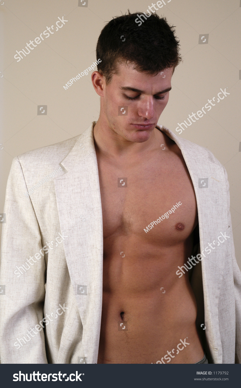 Man Suit Jacket No Shirt Stock Photo 1179792 - Shutterstock
