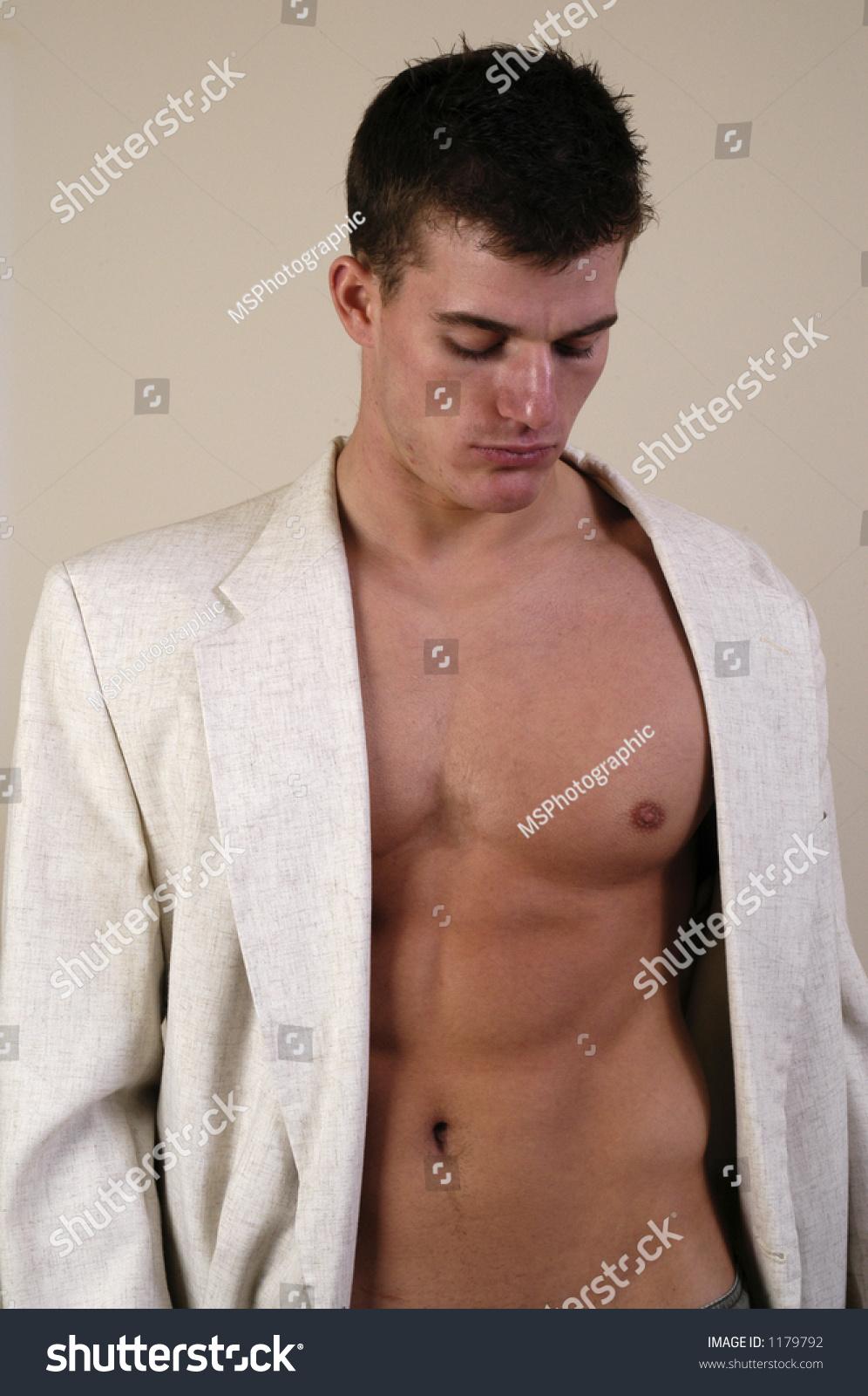 Man Suit Jacket No Shirt Stock Photo 1179792 - Shutterstock