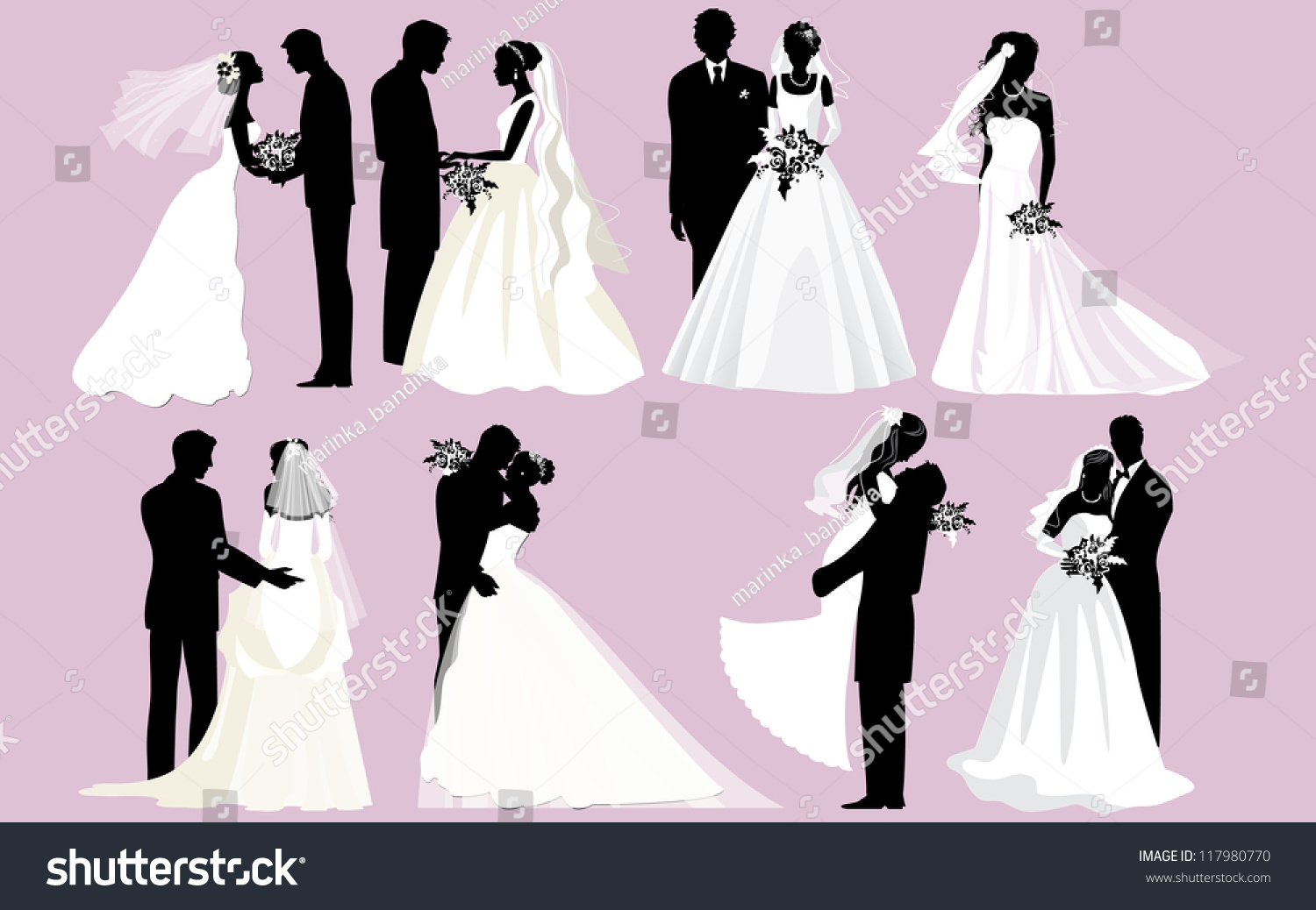 Wedding Silhouettes Vector Bride Groom Silhouettes Stock