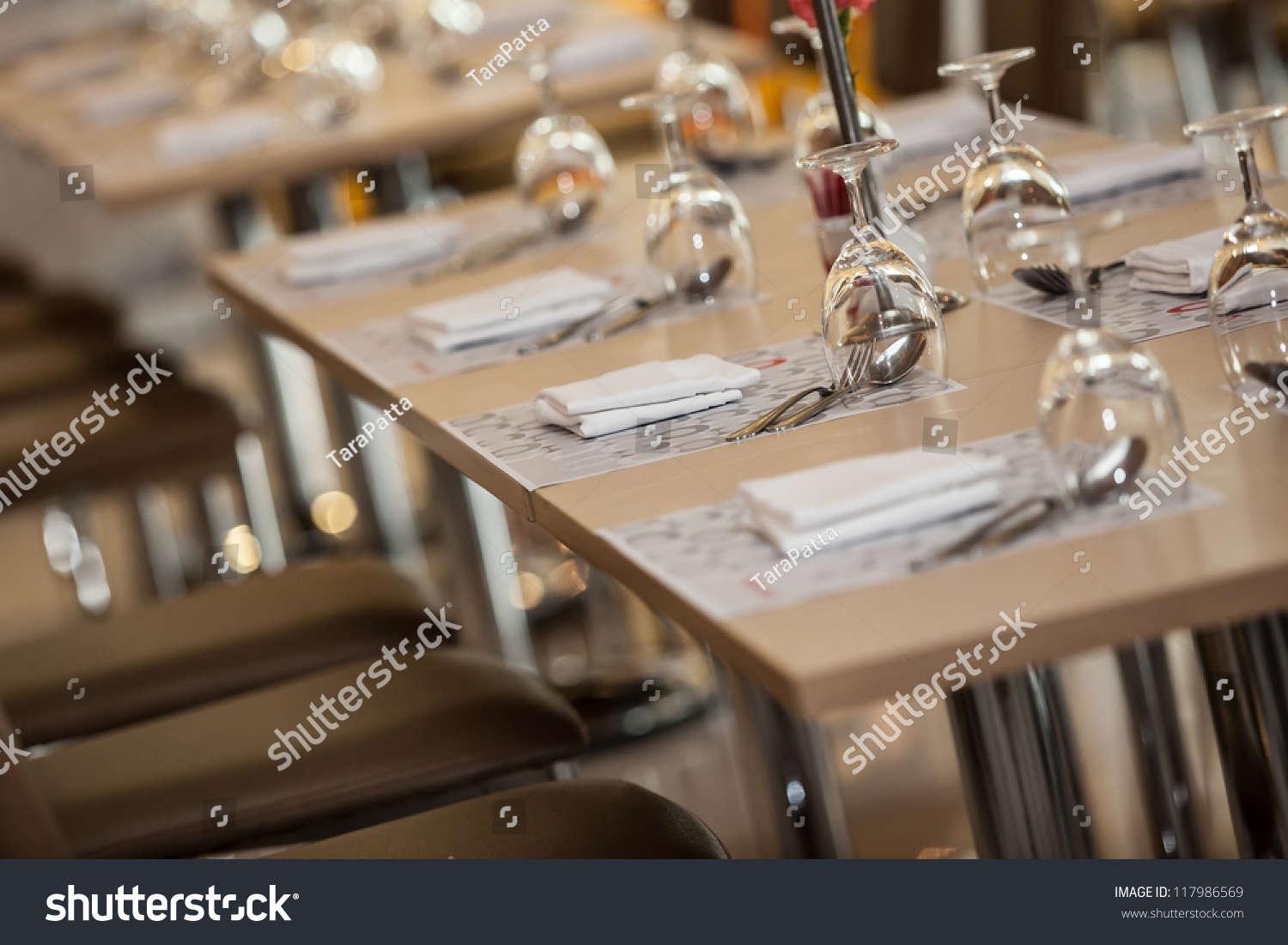 Table Setting Background glass water on luxury table setting stock photo 117986569