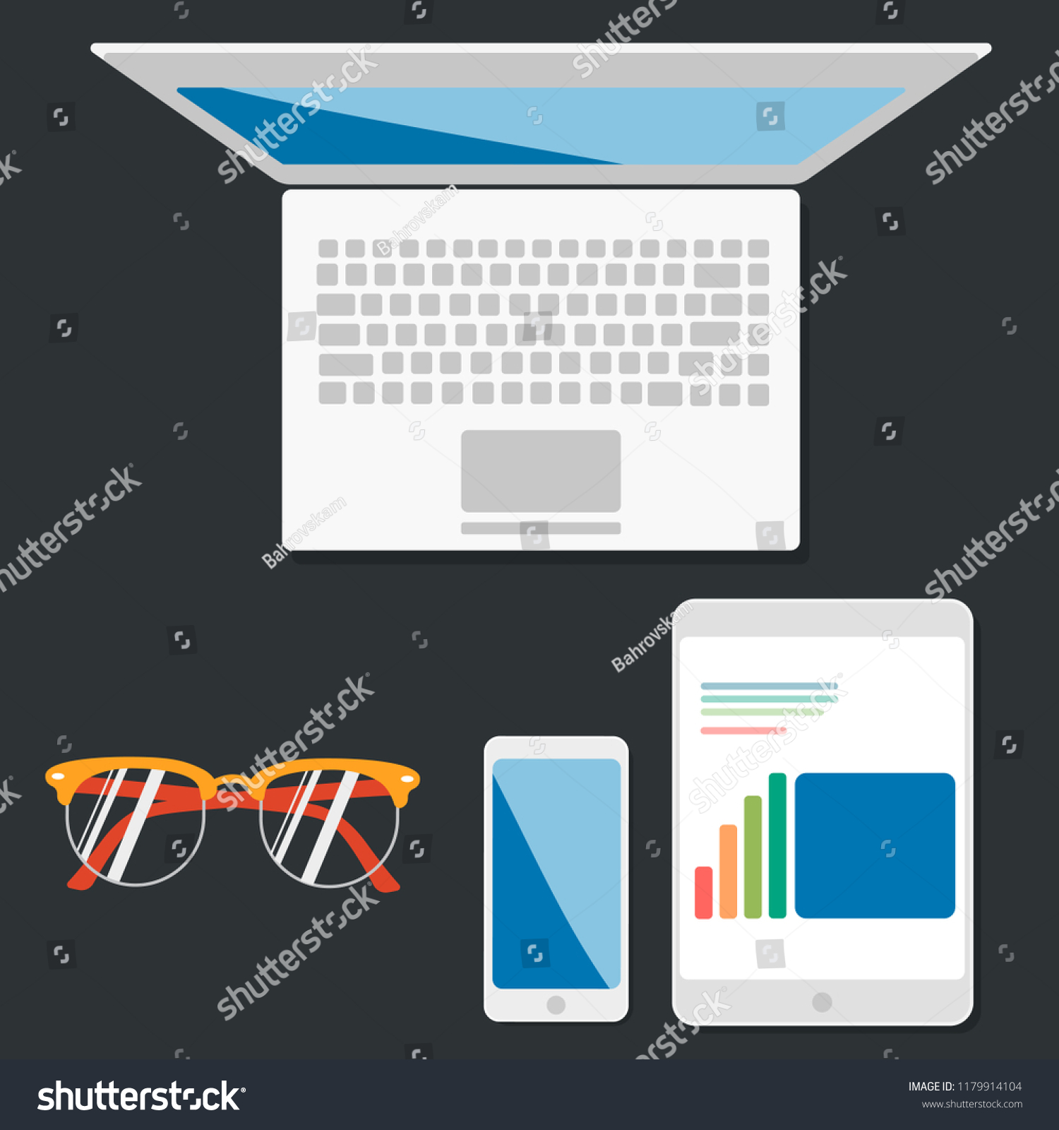 Communication Business Work Concept Render Laptop Stock Vector Allinone Schematic Notebook And Of Or Tablet Computer Pc With