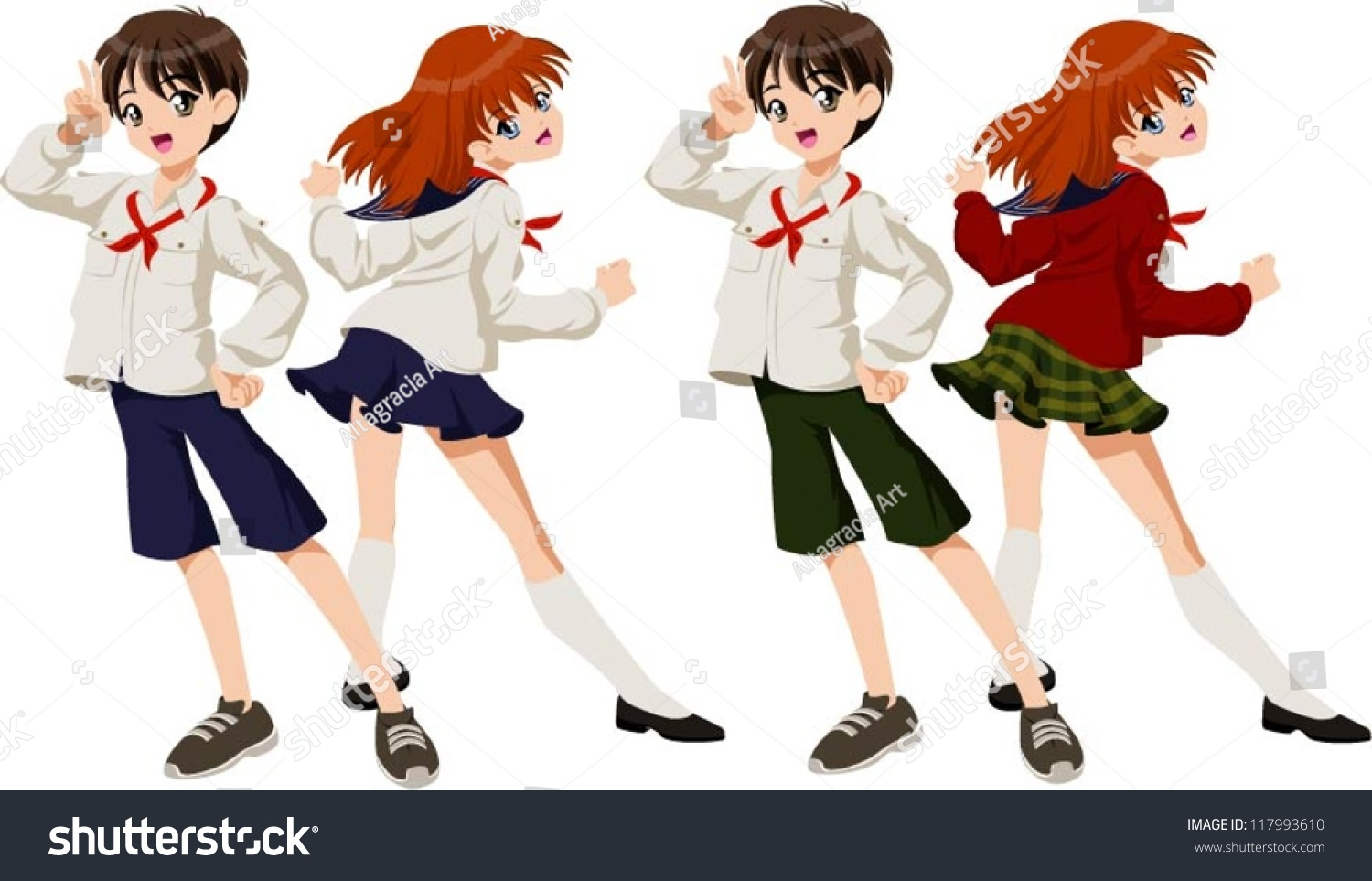Vector illustration of a school boy and a school girl wearing japanese school uniforms in two