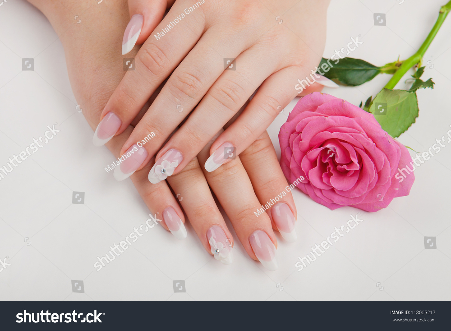Closeup Beautiful Nails French Pink Flower Stock Photo (Royalty Free ...