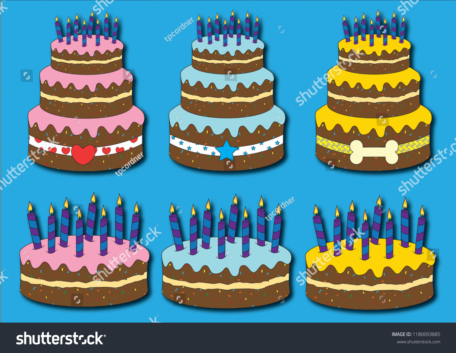 Excellent 3 Different Birthday Cakes Stock Vector Royalty Free 1180093885 Funny Birthday Cards Online Alyptdamsfinfo