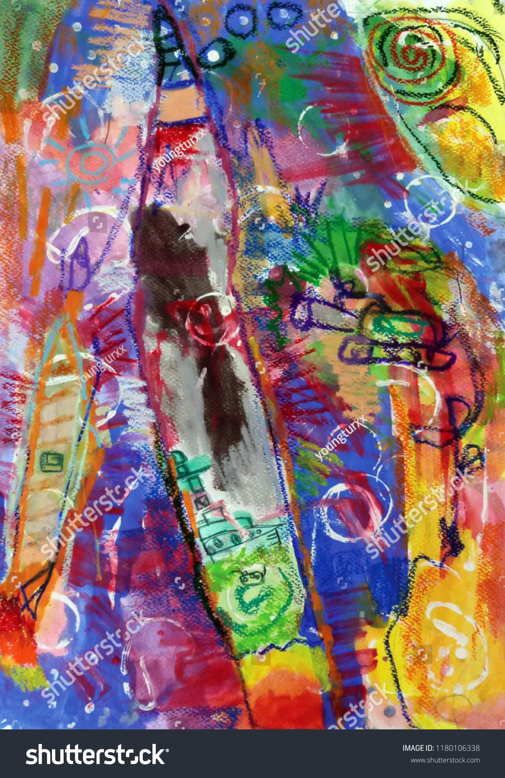 Beautiful Colorful Texture Art Fun Semi Stock Illustration 1180106338