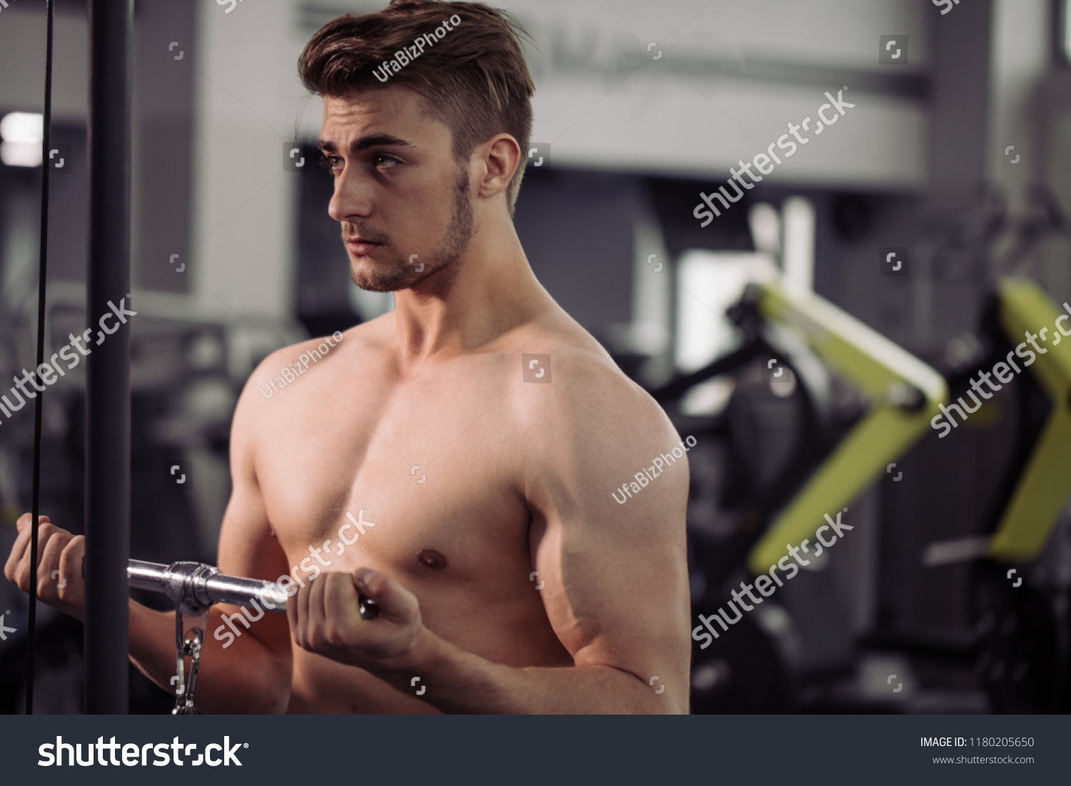 Handsome Muscular Guy Naked Strong Body Stock Photo (Edit