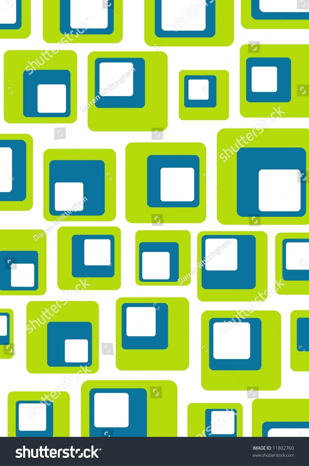 Illustrated Retro Background Of Green, Blue And White ...