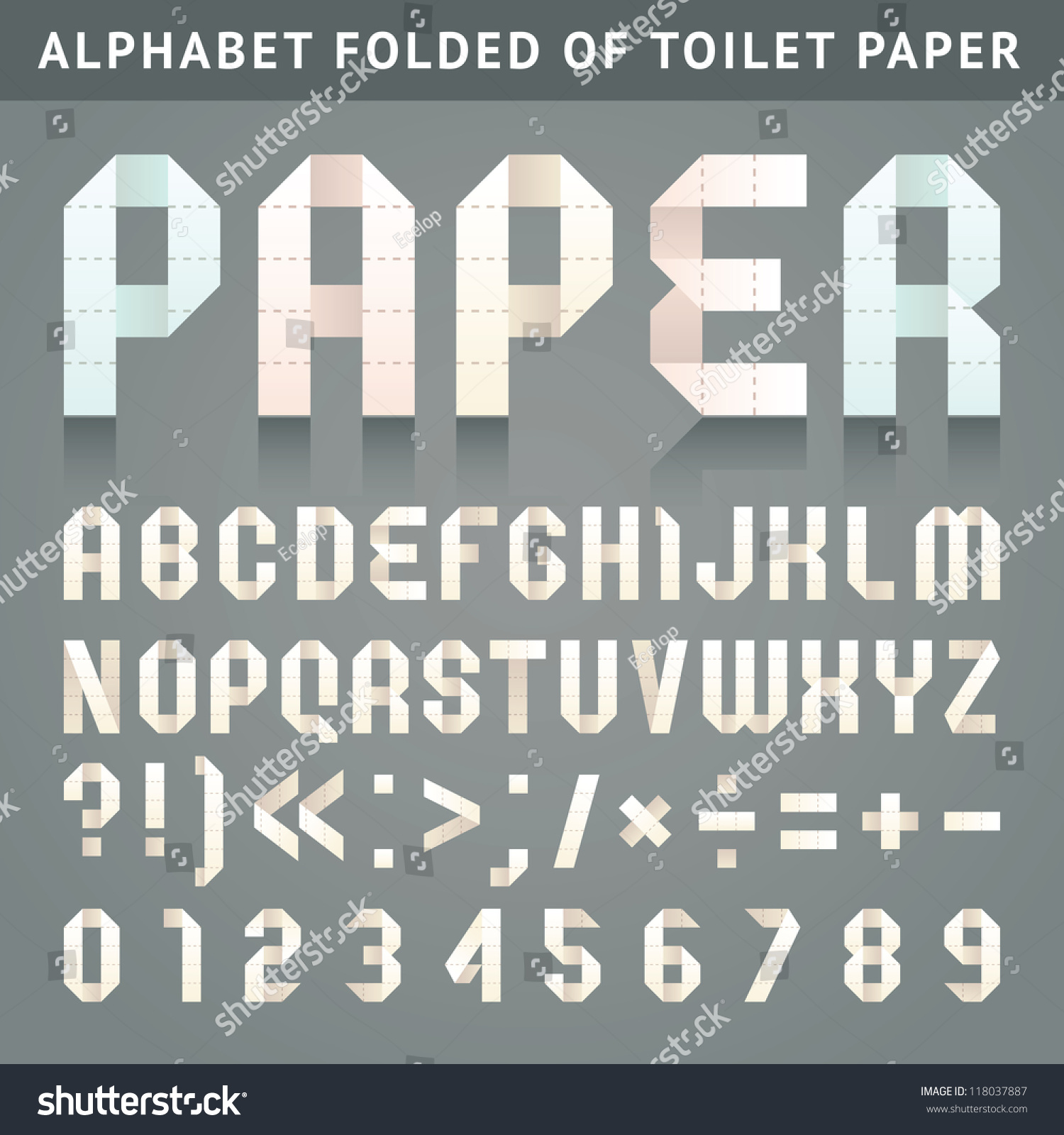 Letters Folded Perforated Toilet Paper Roman Stock Vector
