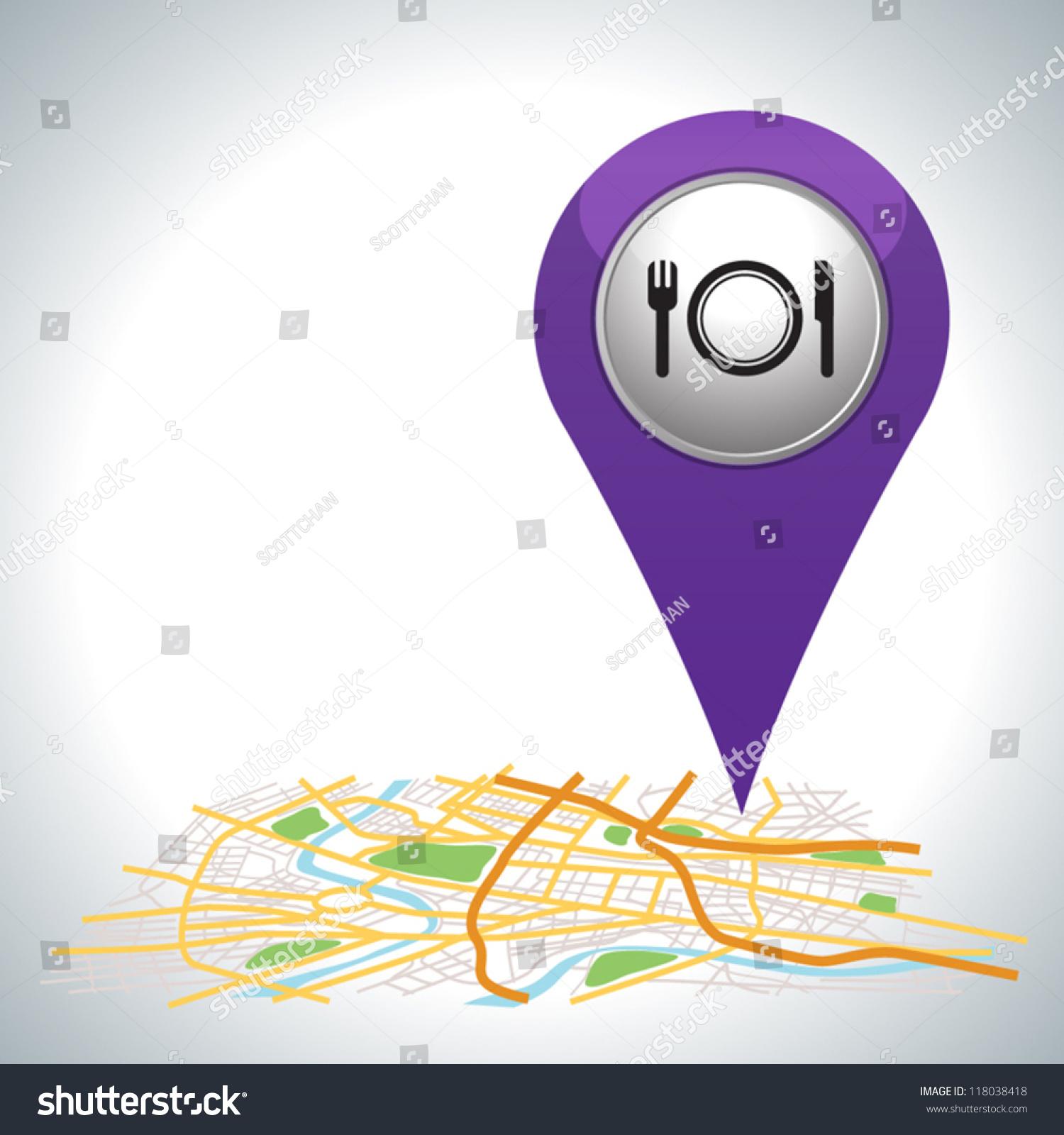 purple restaurant pointer on map location stock vector 118038418