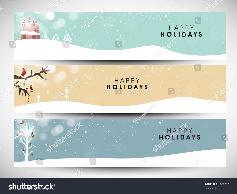 Happy Holidays Website Header Banner Design Stock Vector