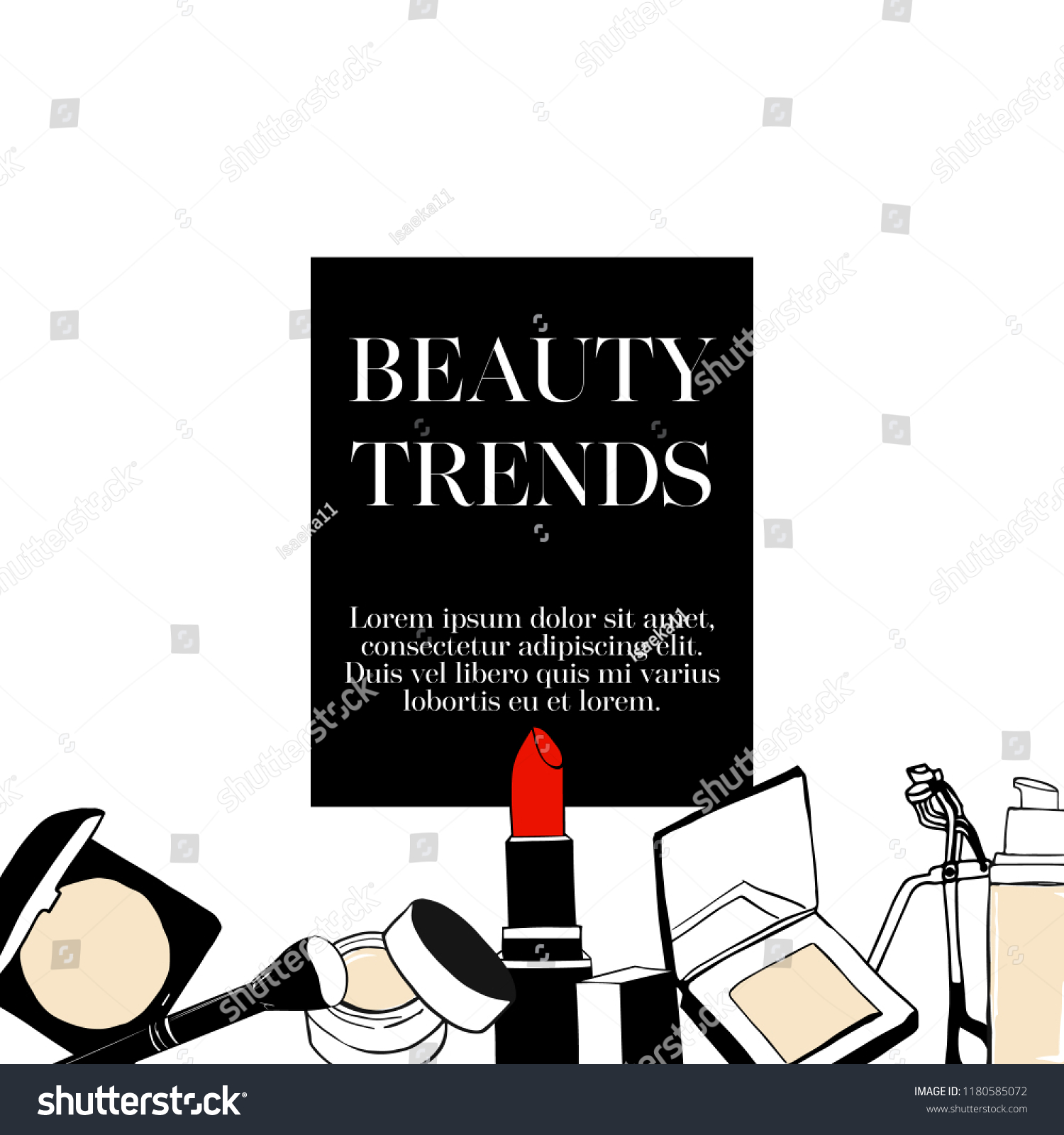 Makeup Beauty Banner Template Design Fashion Stock Vector Royalty Free 1180585072