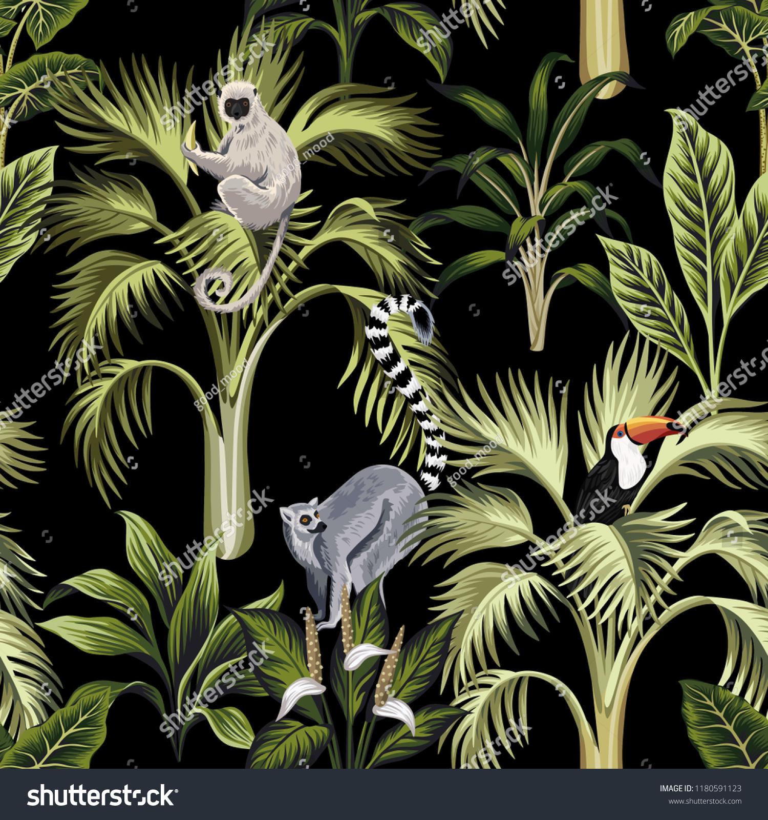 Tropical Vintage Palm Trees Plants Lemur Stock Vector Royalty Free