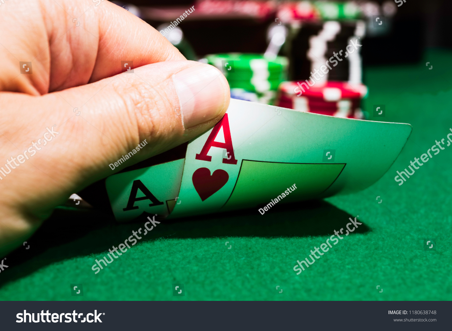 Poker Chips Ace Spades Ace Hearts Stock Photo (Edit Now