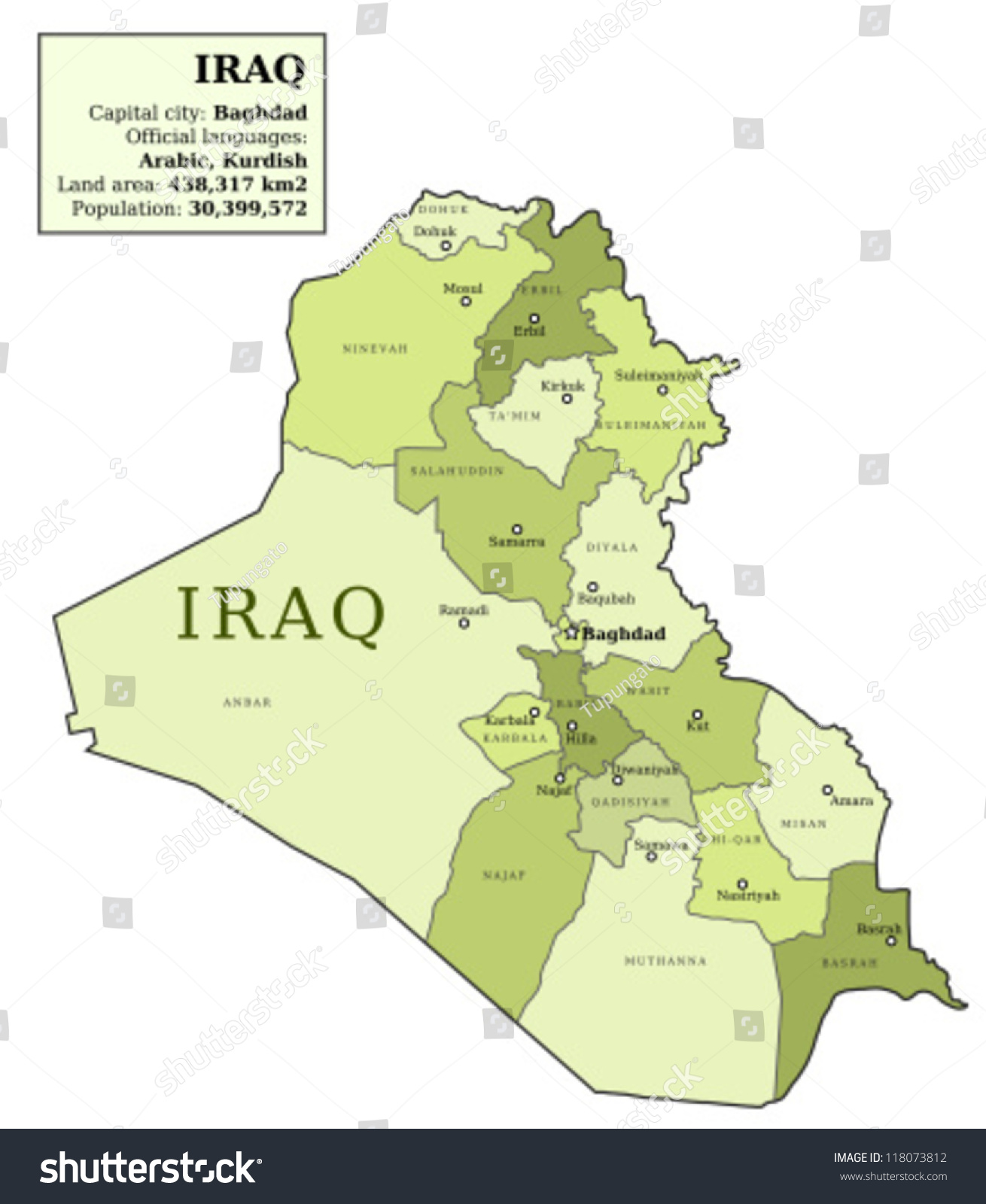 Iraq Map Provinces Governorates Various Colours Vector – Map of Iraq Provinces