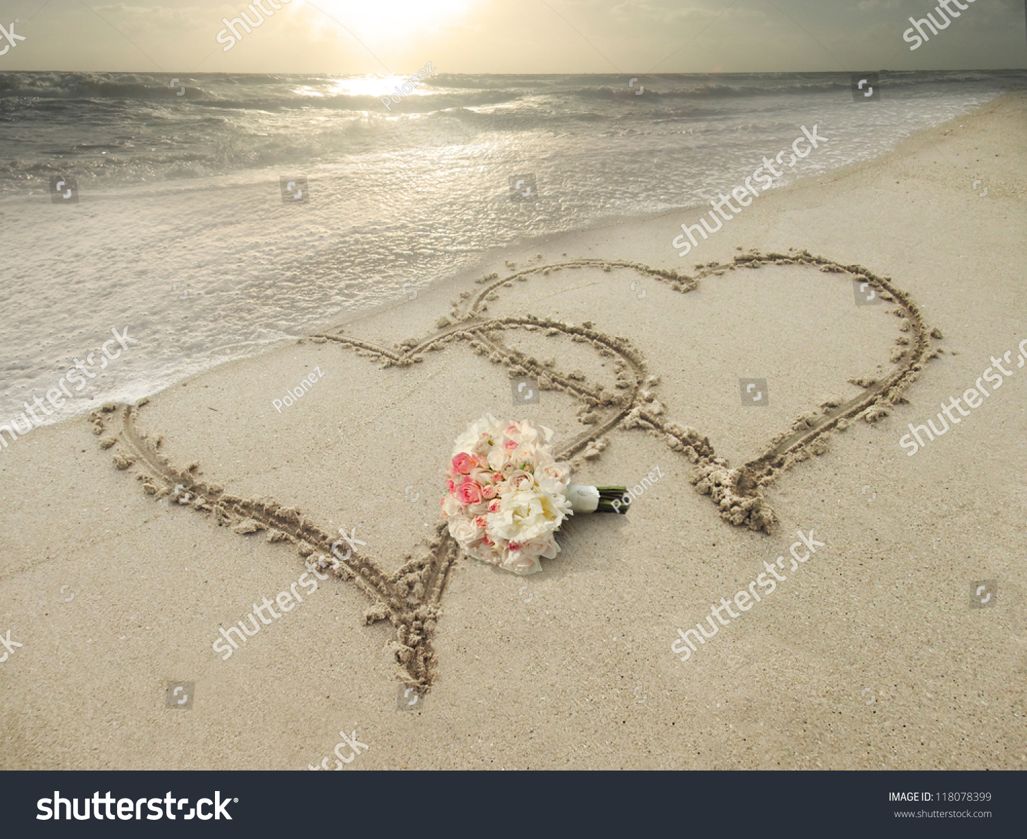 Two Hearts Drawn Sand Beach Wedding Stock Photo 118078399 ...