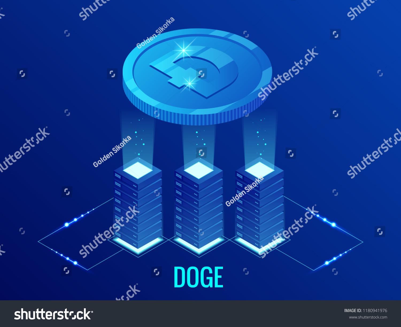 Isometric Dogecoin DOGE Cryptocurrency Mining Farm Stock