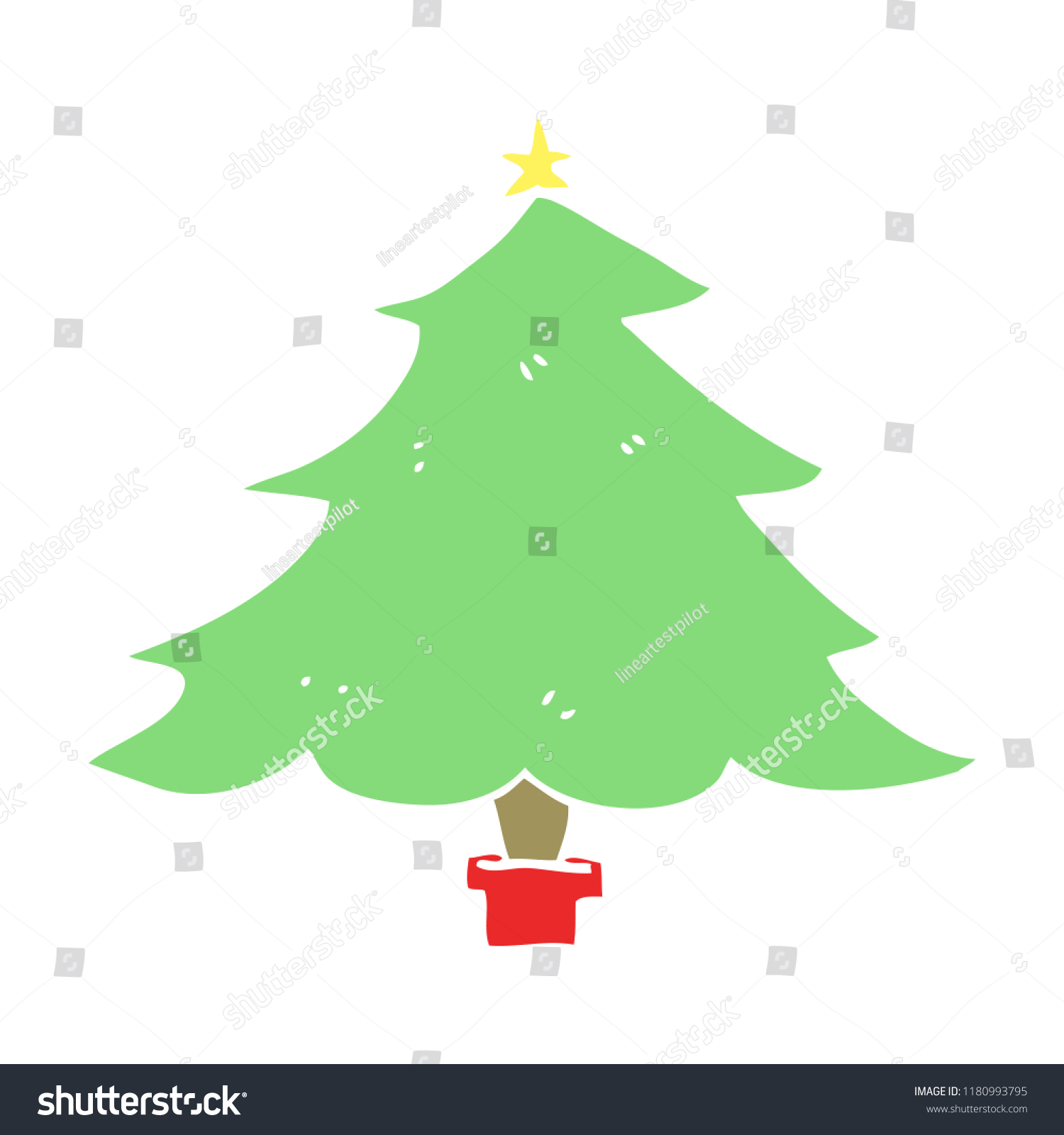 Flat Color Style Cartoon Christmas Tree Stock Illustration ...