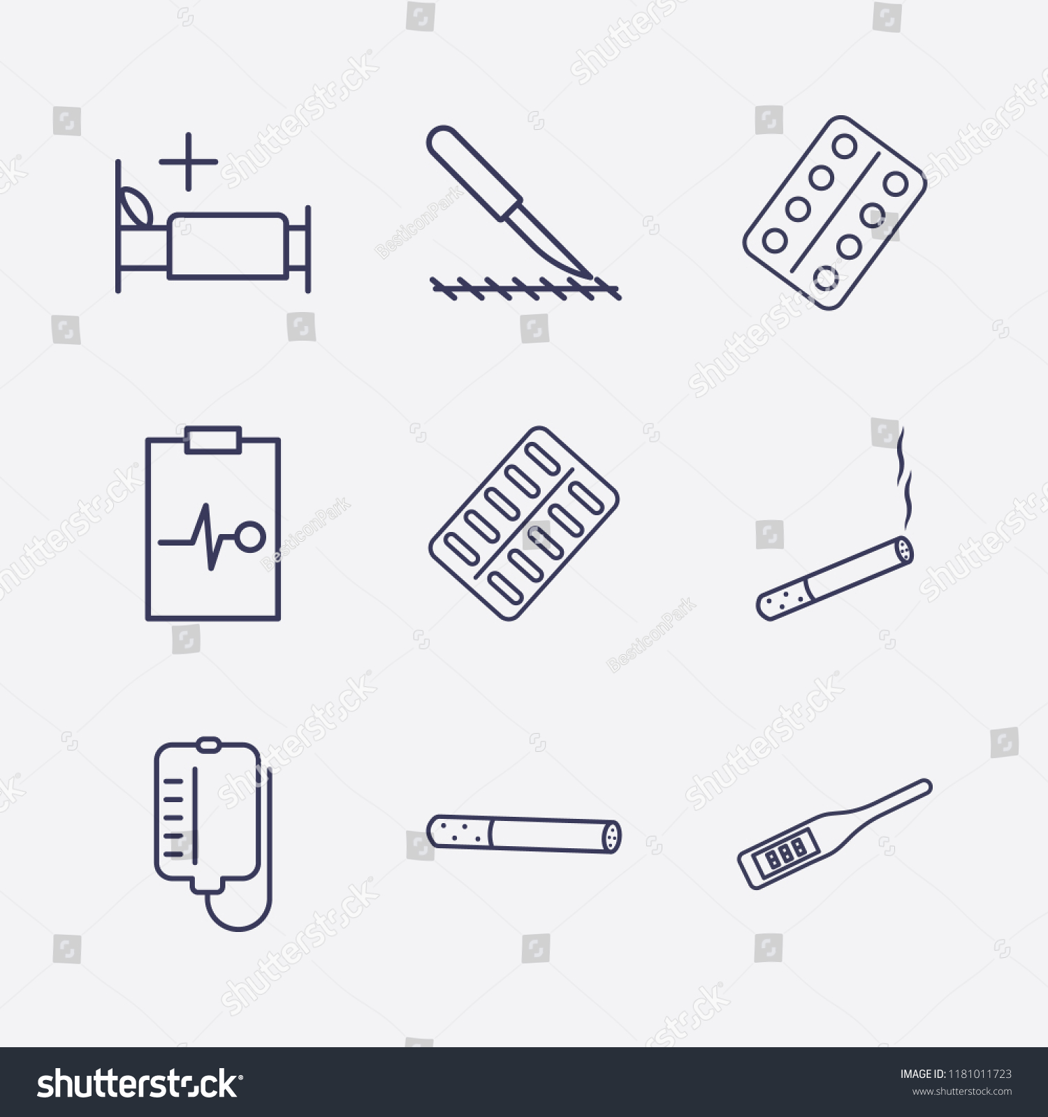 Outline 9 Hospital Icon Set Pill Stock Vector Royalty Free Digital Thermometer Schematics Pack Scalpel Blood Bag Medicine Bed