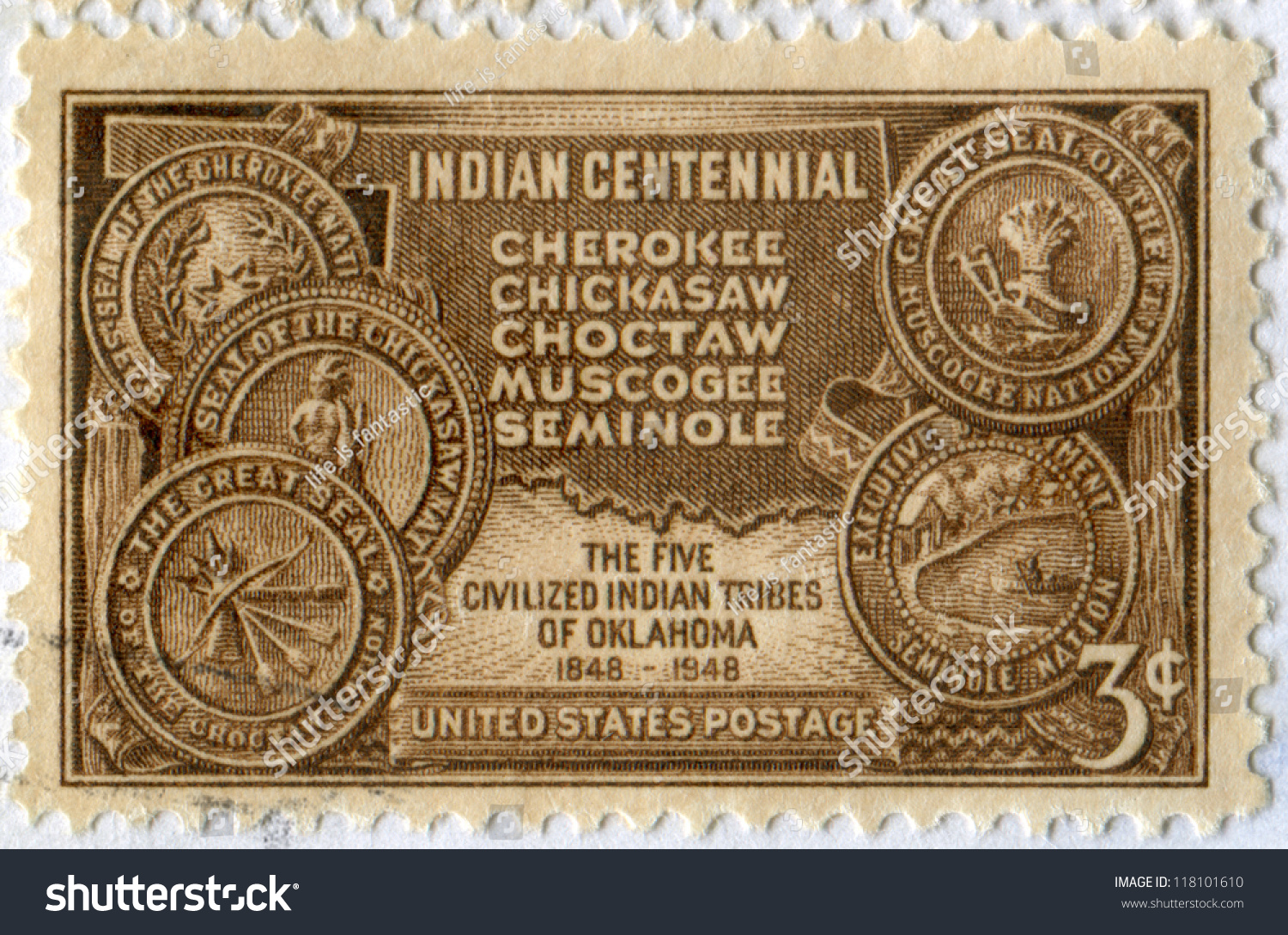 Usa Circa Stamp Printed United Stock Photo - Us map of indian territories