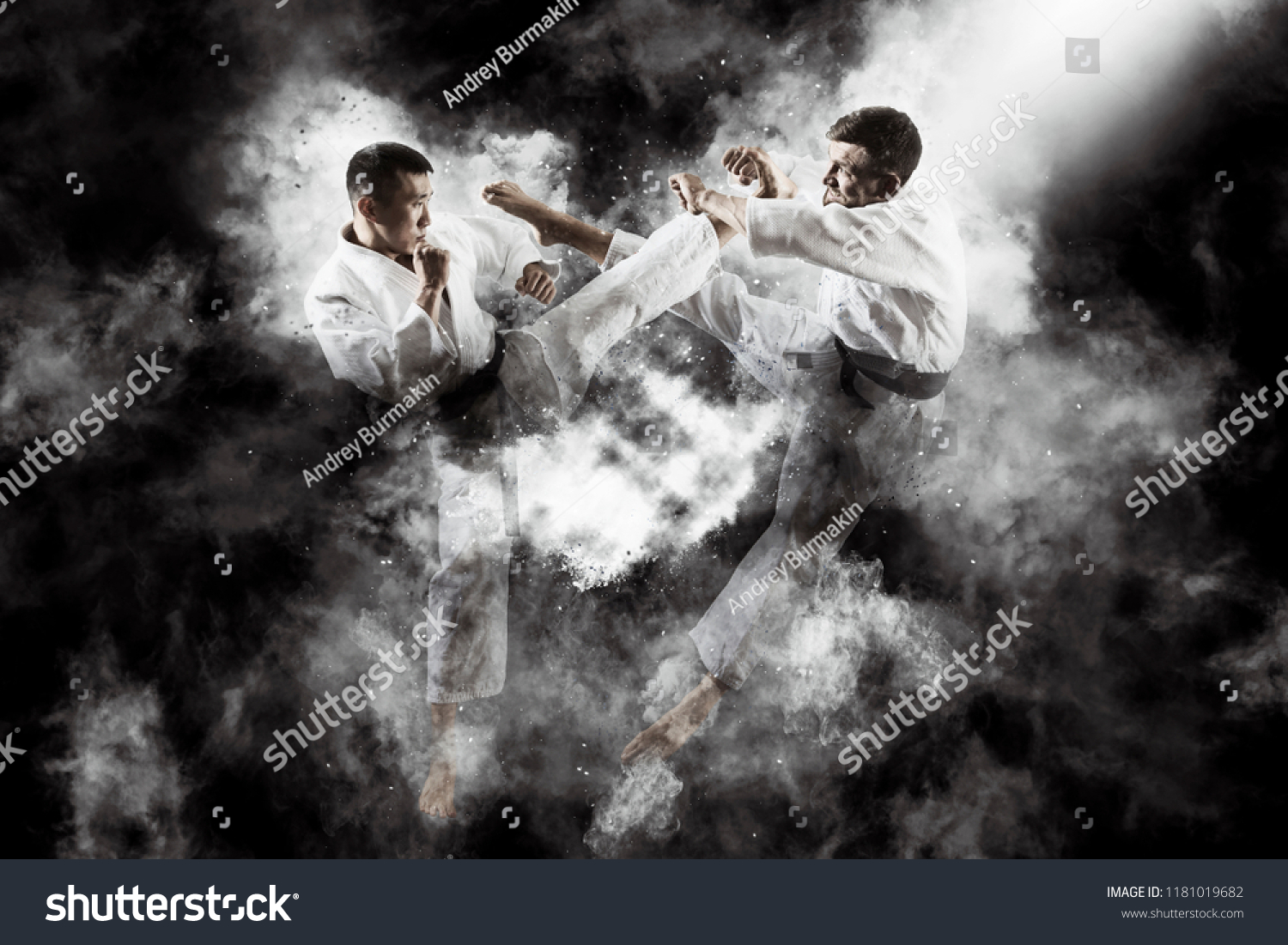 Martial arts masters, karate practice. Two male karate fighting  #1181019682