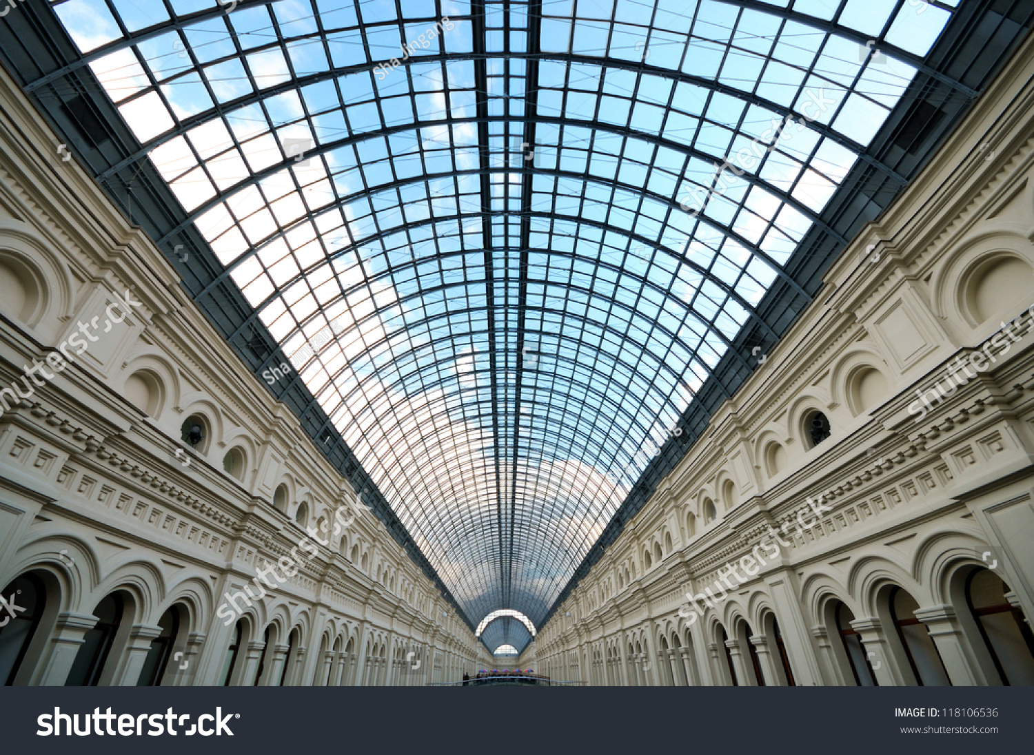 Perspective glass roof skylight long building stock photo for Large skylights