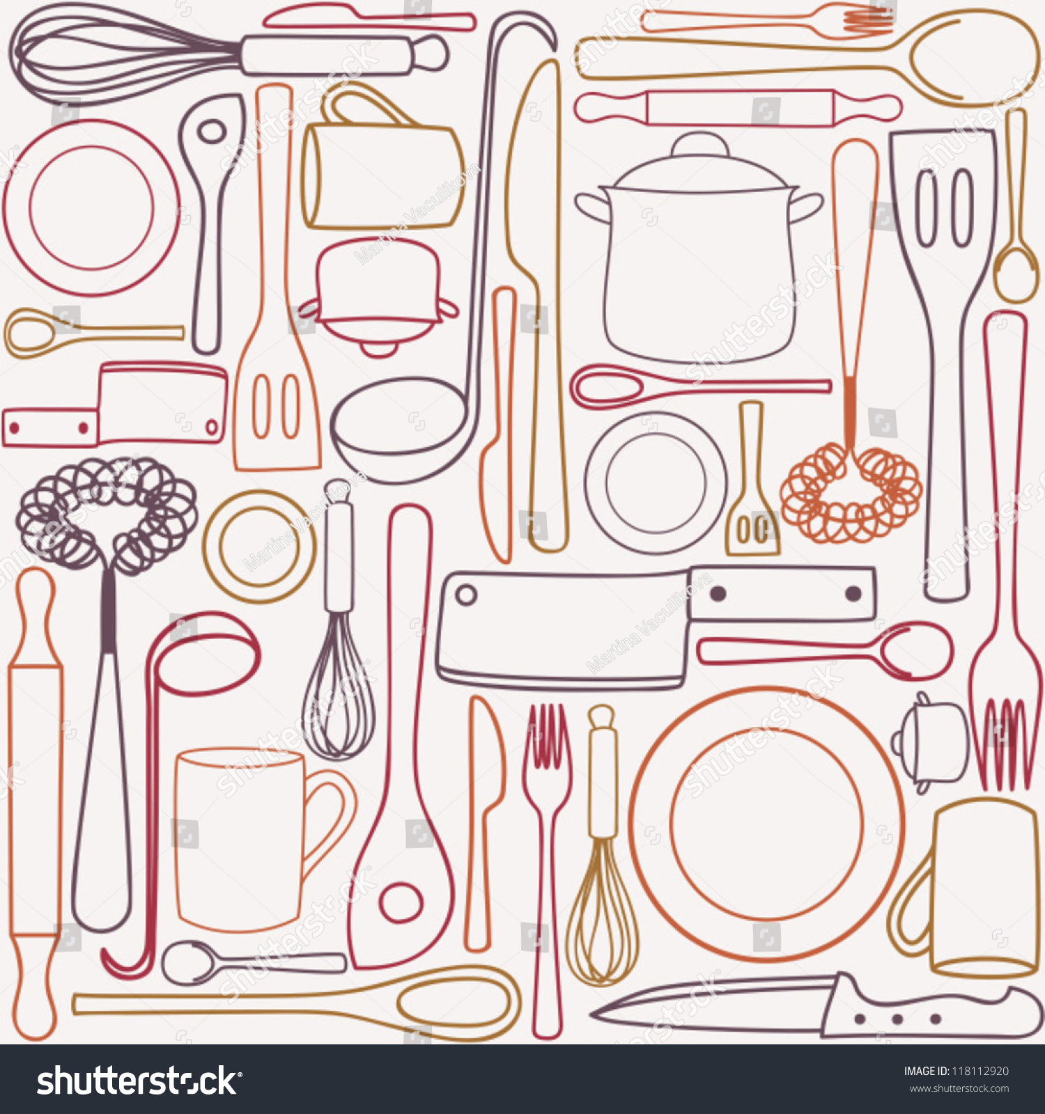 Kitchen Cooking Utensils Cutlery Seamless Pattern Stock