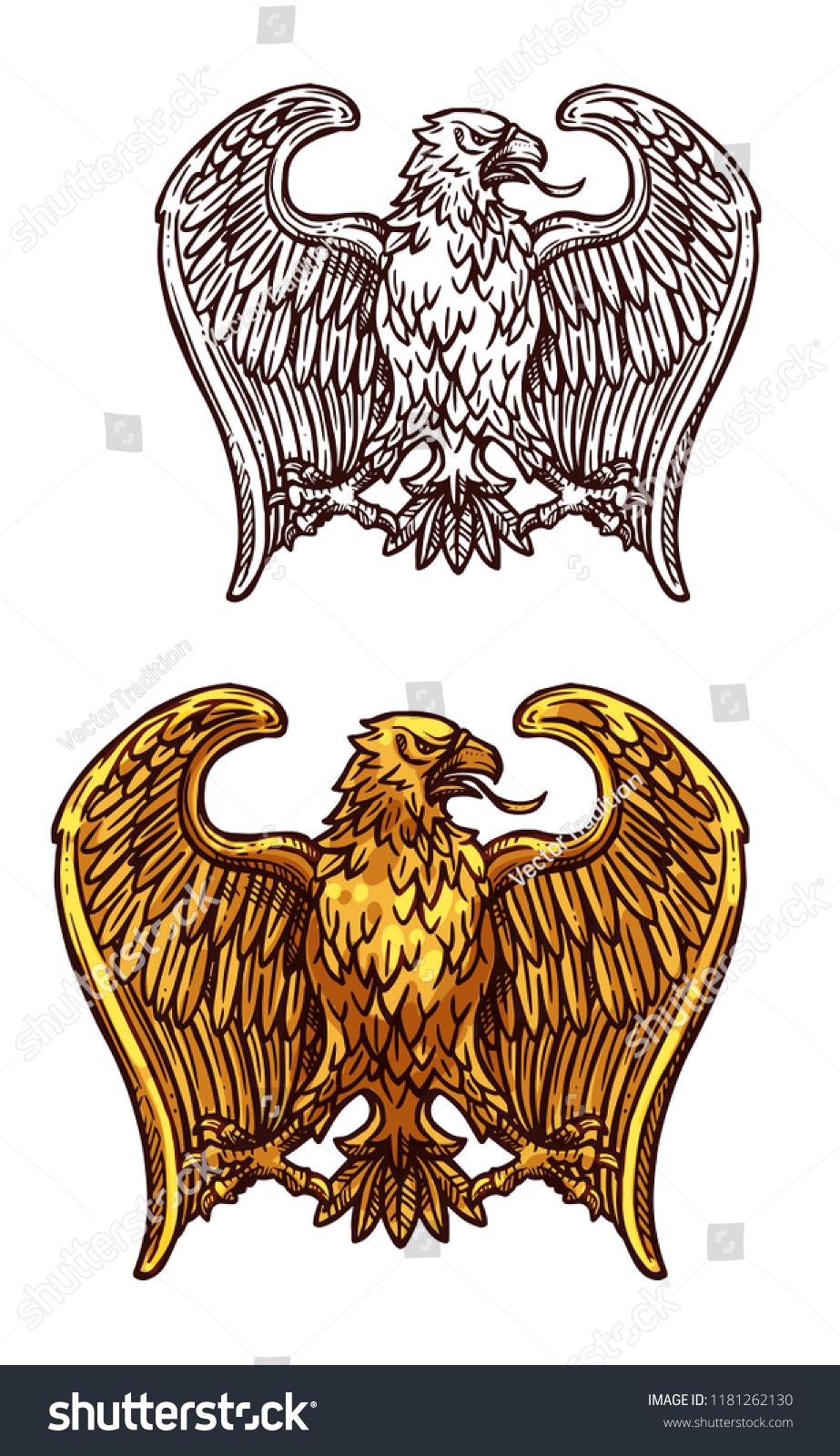 Golden Eagle Heraldic Bird Gold Insignia Stock Vector Royalty Free