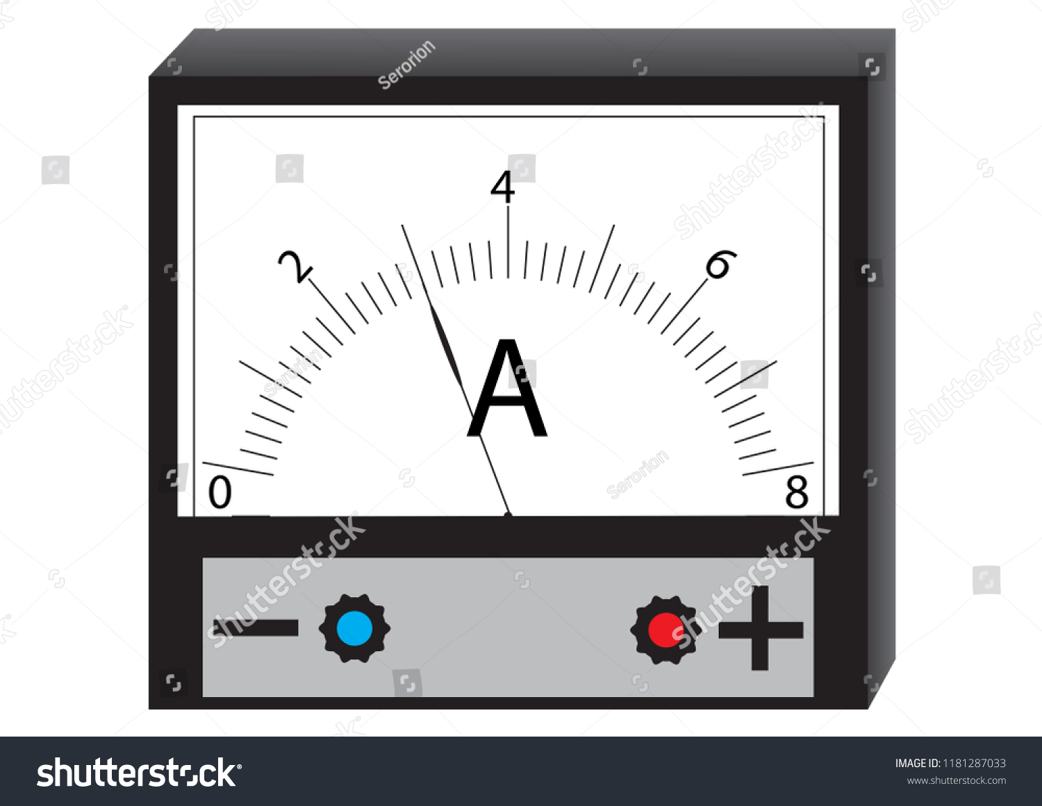 Ammeter Physical Device Measuring Current Electrical Stock Vector Amp Meter Circuit A For The In