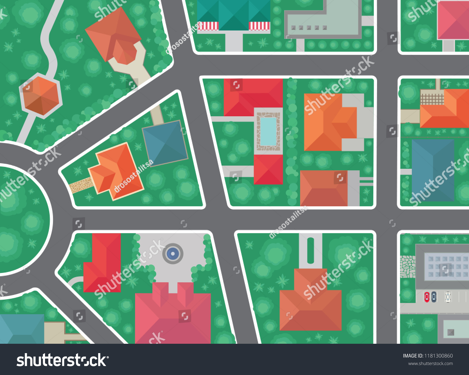 Top View Neighborhood Vector Roof Tops Stock Vector (Royalty Free