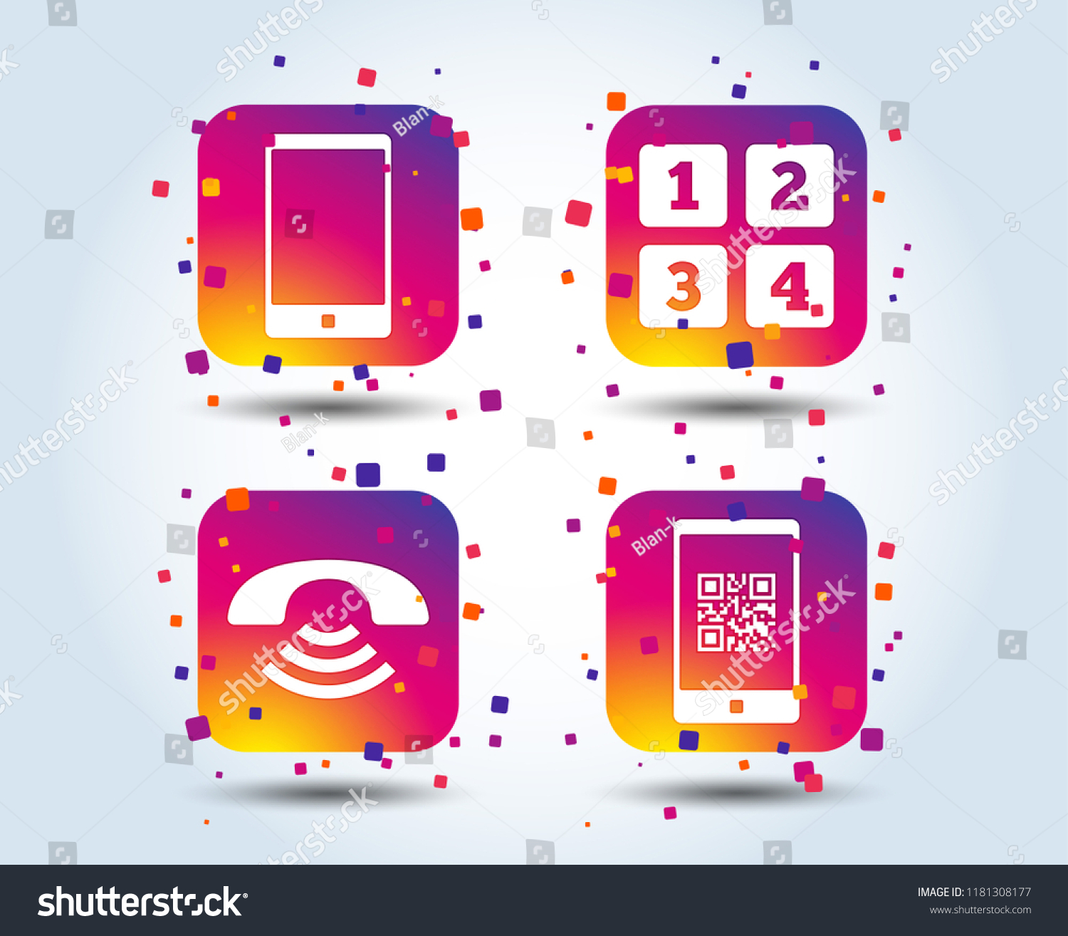 Phone Icons Smartphone Qr Code Sign Stock Vector Royalty Free