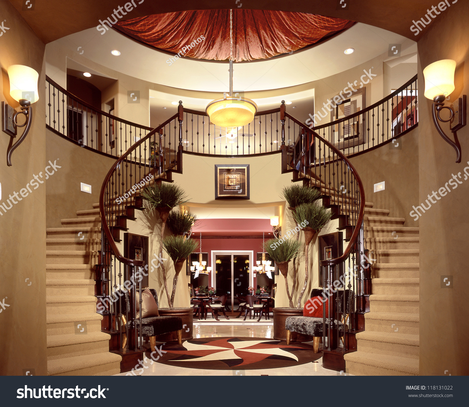 Beautiful Front Hall And Staircase: Beautiful Entry Staircase This Luxury Stairway Stock Photo
