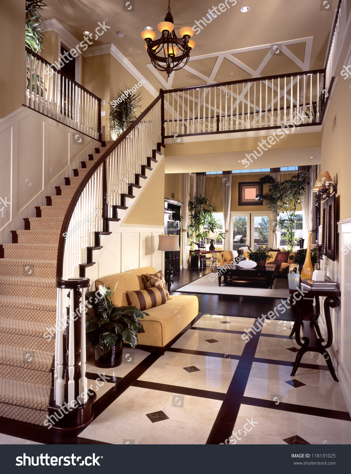 Stock Room Design: Beautiful Entry Staircase This Luxury Stairway Stock Photo