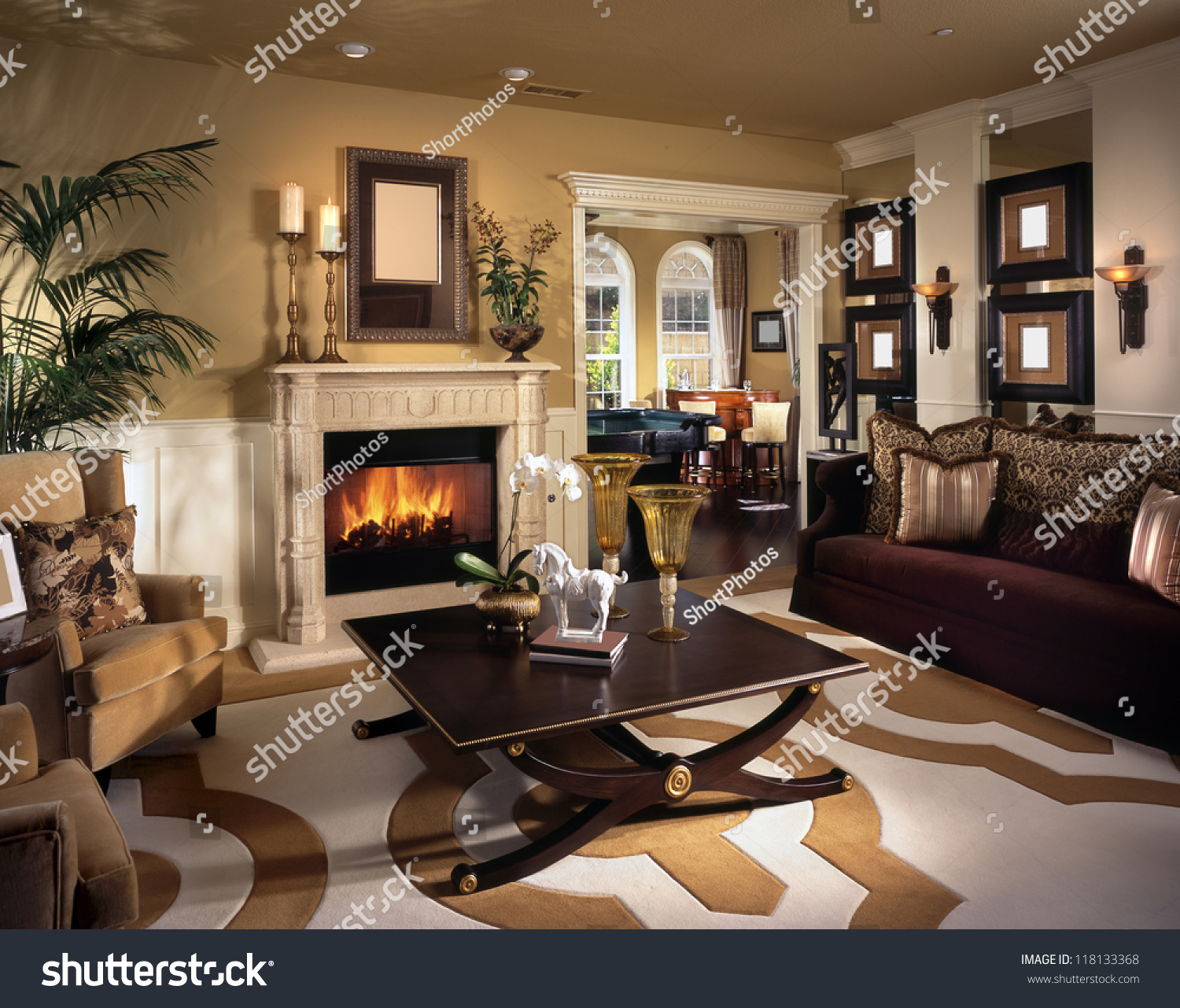 Luxury Kitchen Room Interior Bright Wooden Stock Vector: Beautiful Living Room Architecture Stock Images Stock