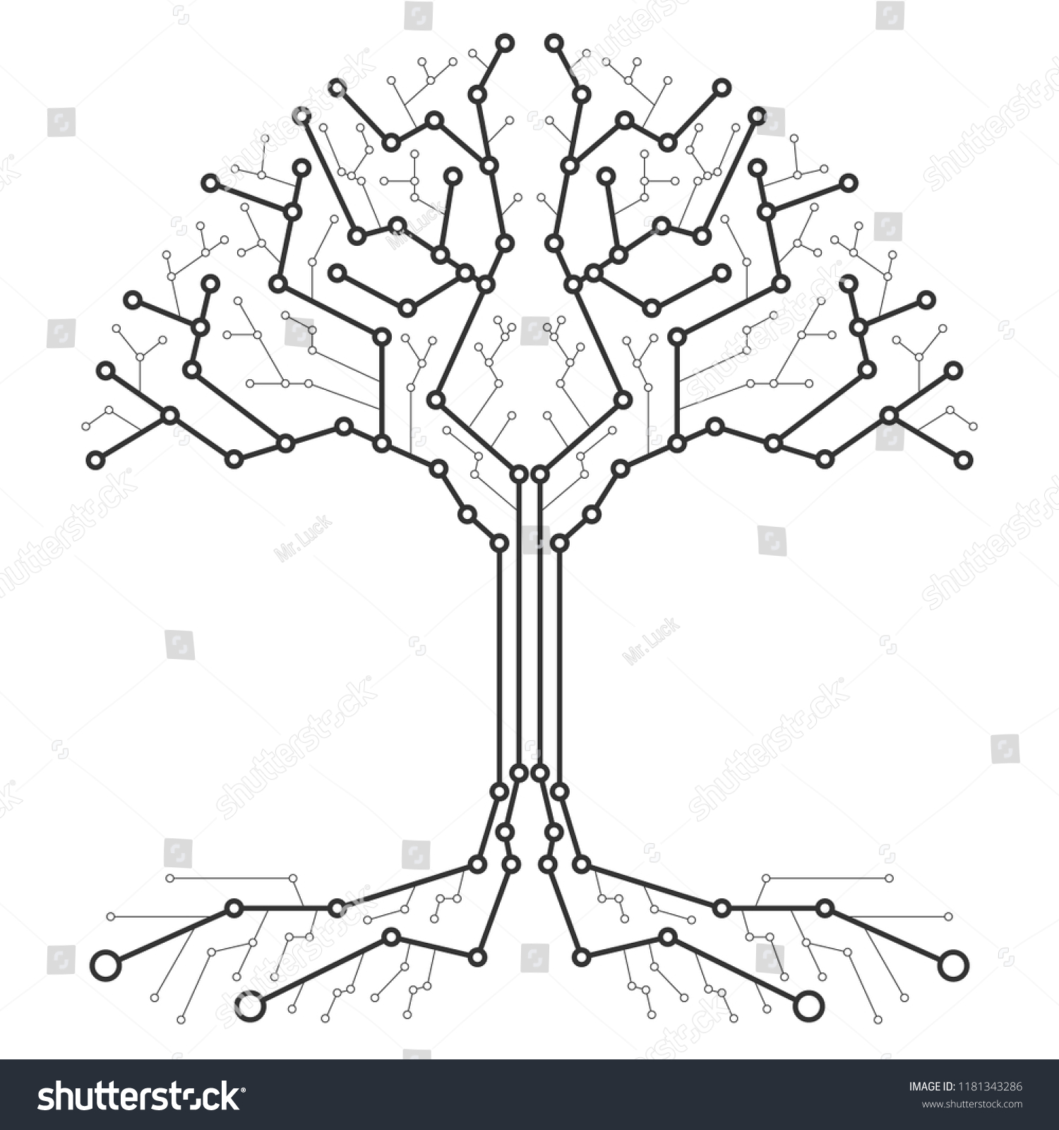 Technological Tree Form Printed Circuit Board Stock Vector Royalty Photos Images Pictures Shutterstock In The Of A Black And White Wood