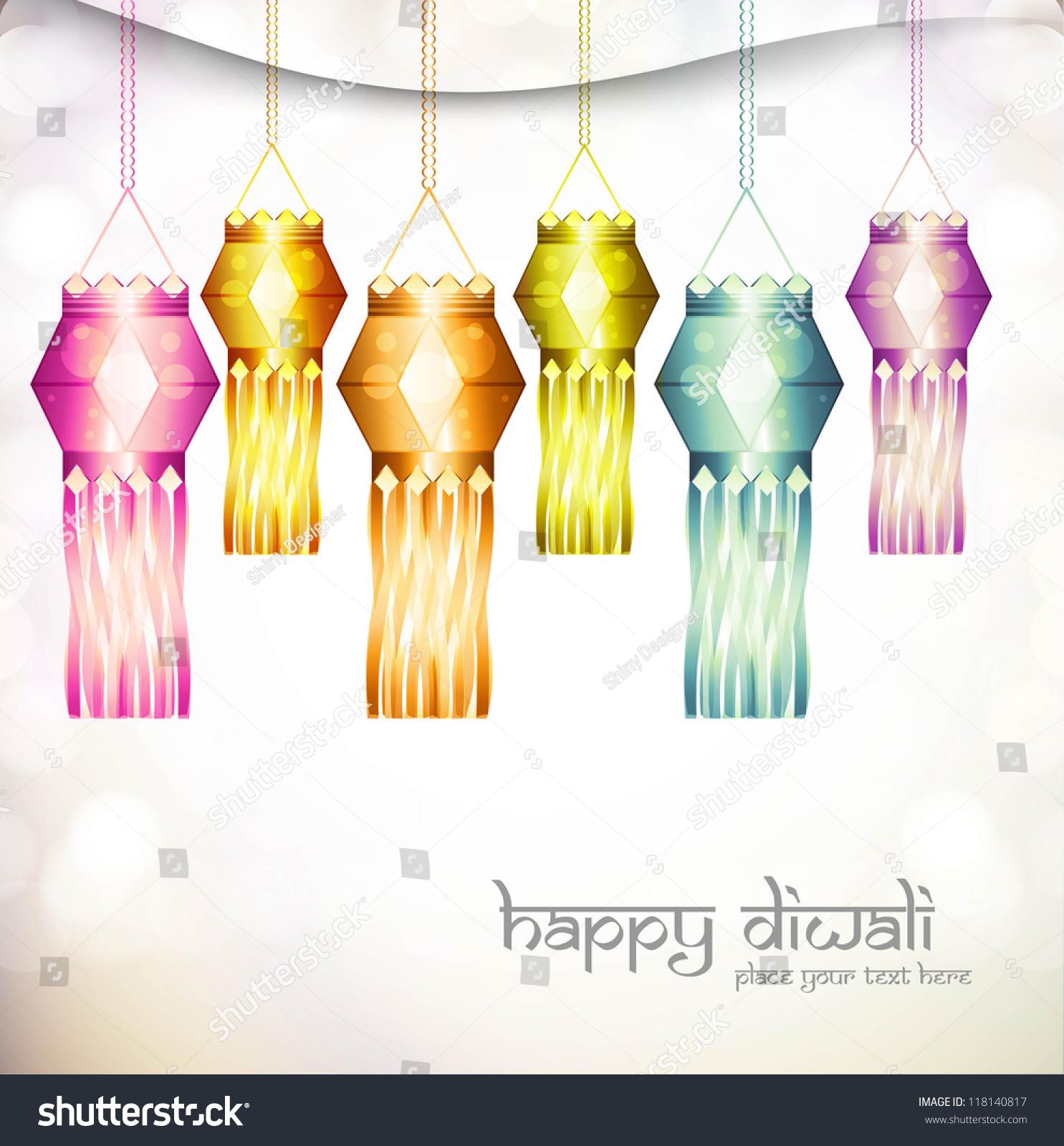 Beautiful Diwali Hanging Lamp Festival Shiny Vector Design