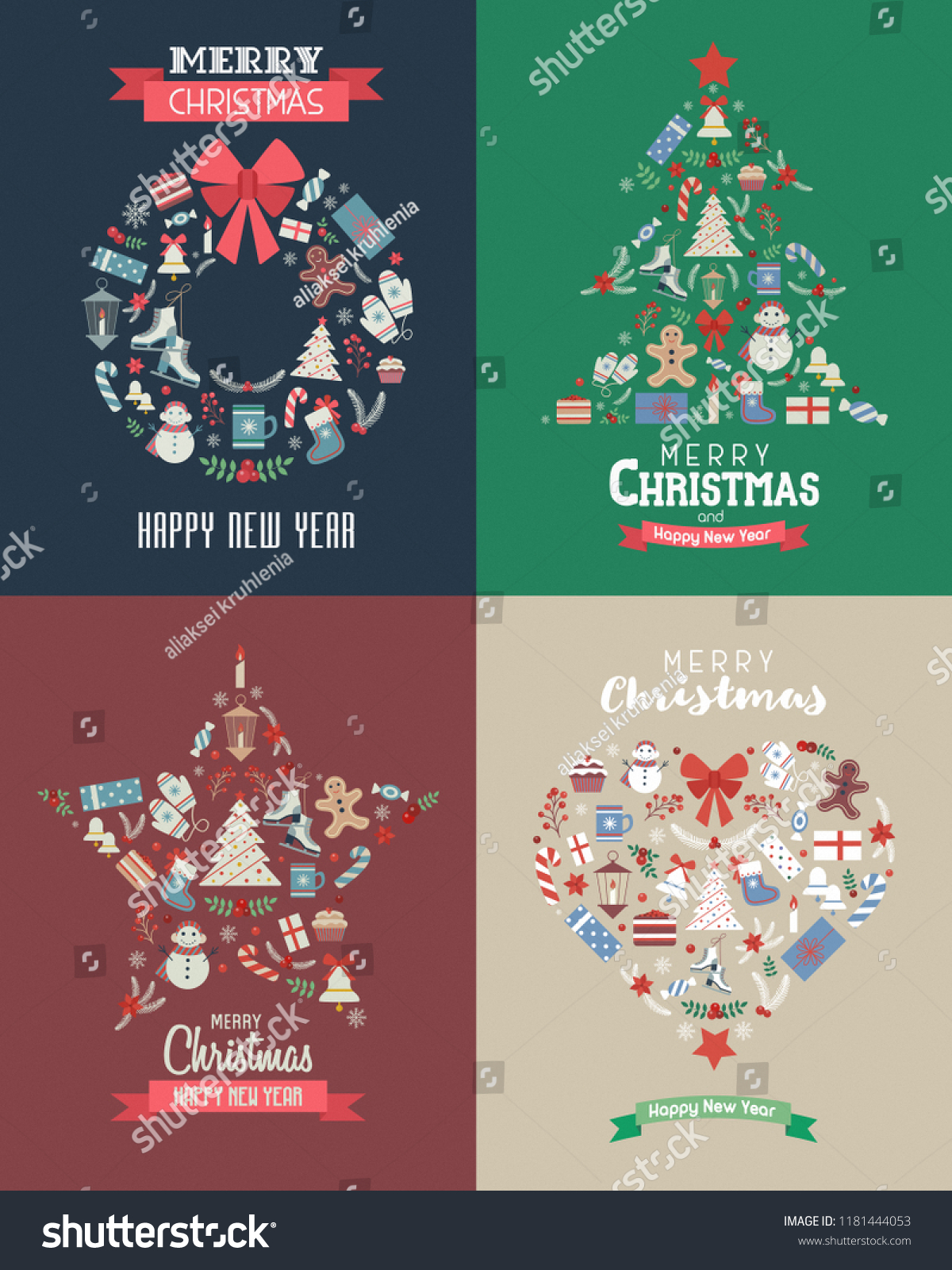 Merry Christmas Happy New Year Vintage Stock Vector Royalty Free