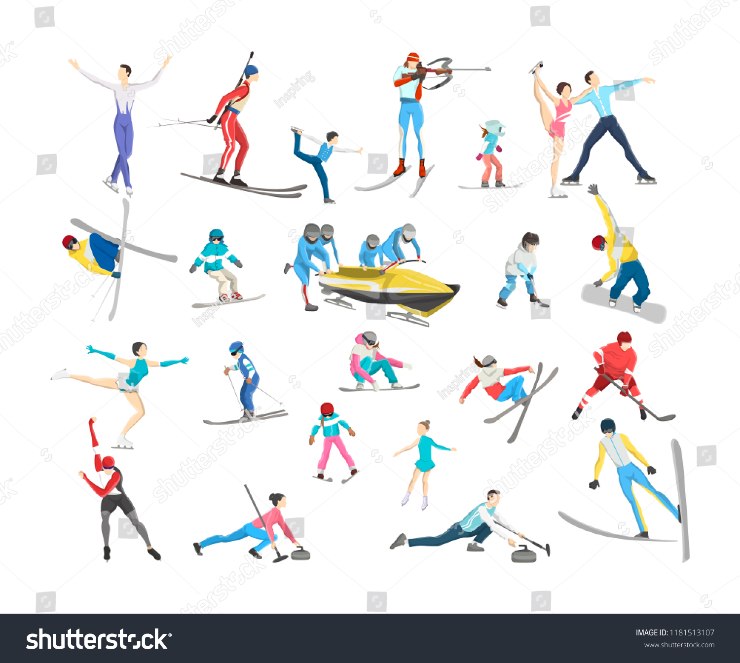 b79fa97c57 People Warm Clothes Doing Winter Sport Stock Vector (Royalty Free ...