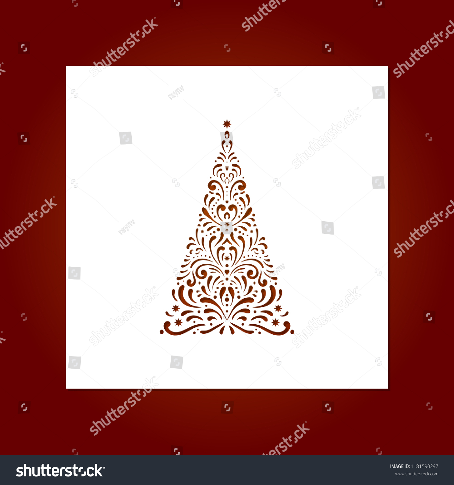 Laser Cut Template Christmas Cards Christmas Stock Vector Royalty