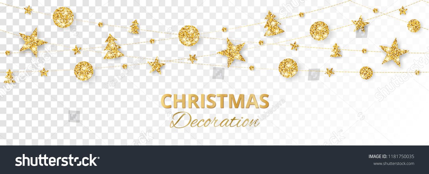 Christmas golden decoration isolated on white background. Hanging glitter balls, trees, stars. Holiday vector frame for party posters, headers, banners. Winter season sparkling ornaments on a string. #1181750035