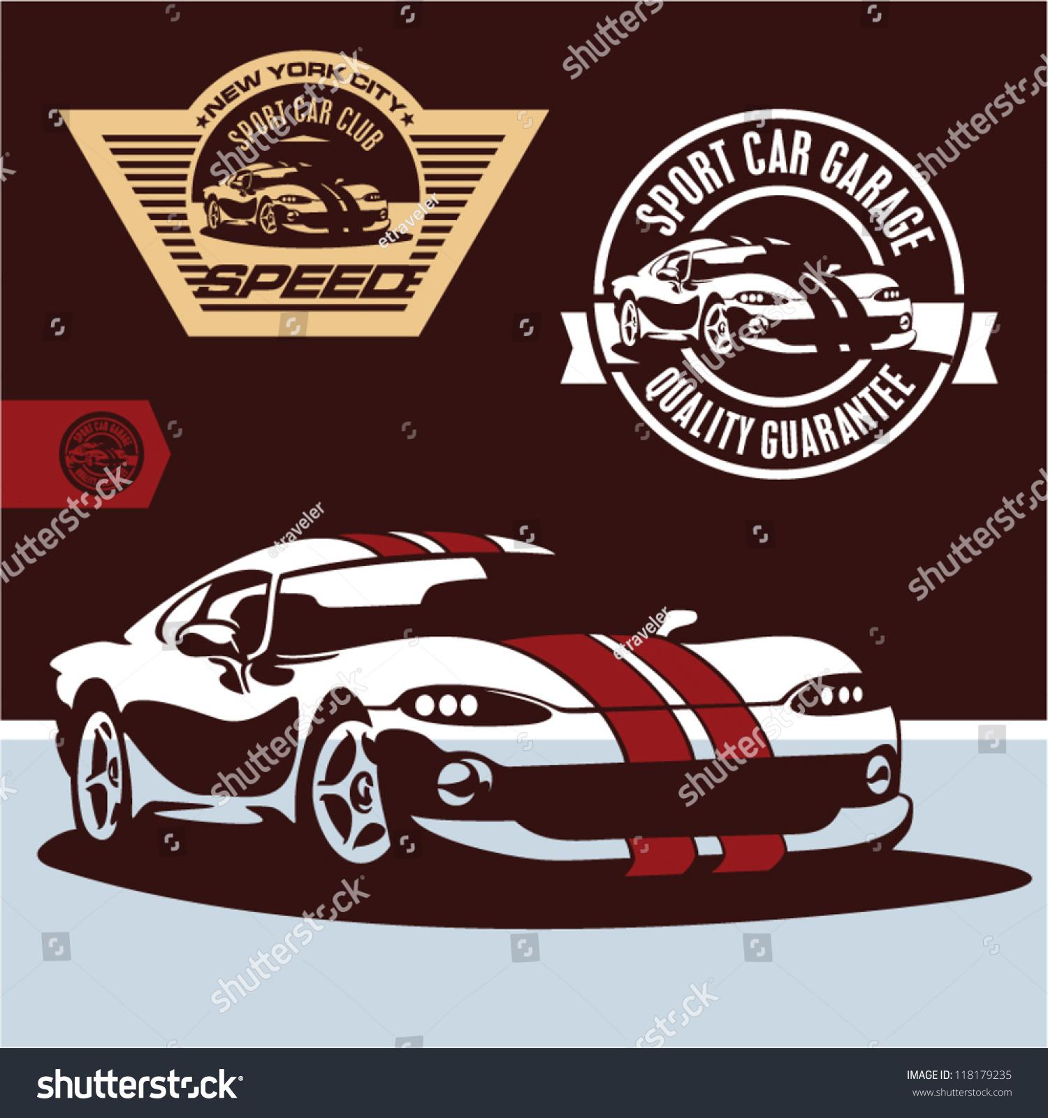 Design car club logo - Sports Car Vector Sports Car Club Emblem Label And Stamp Set