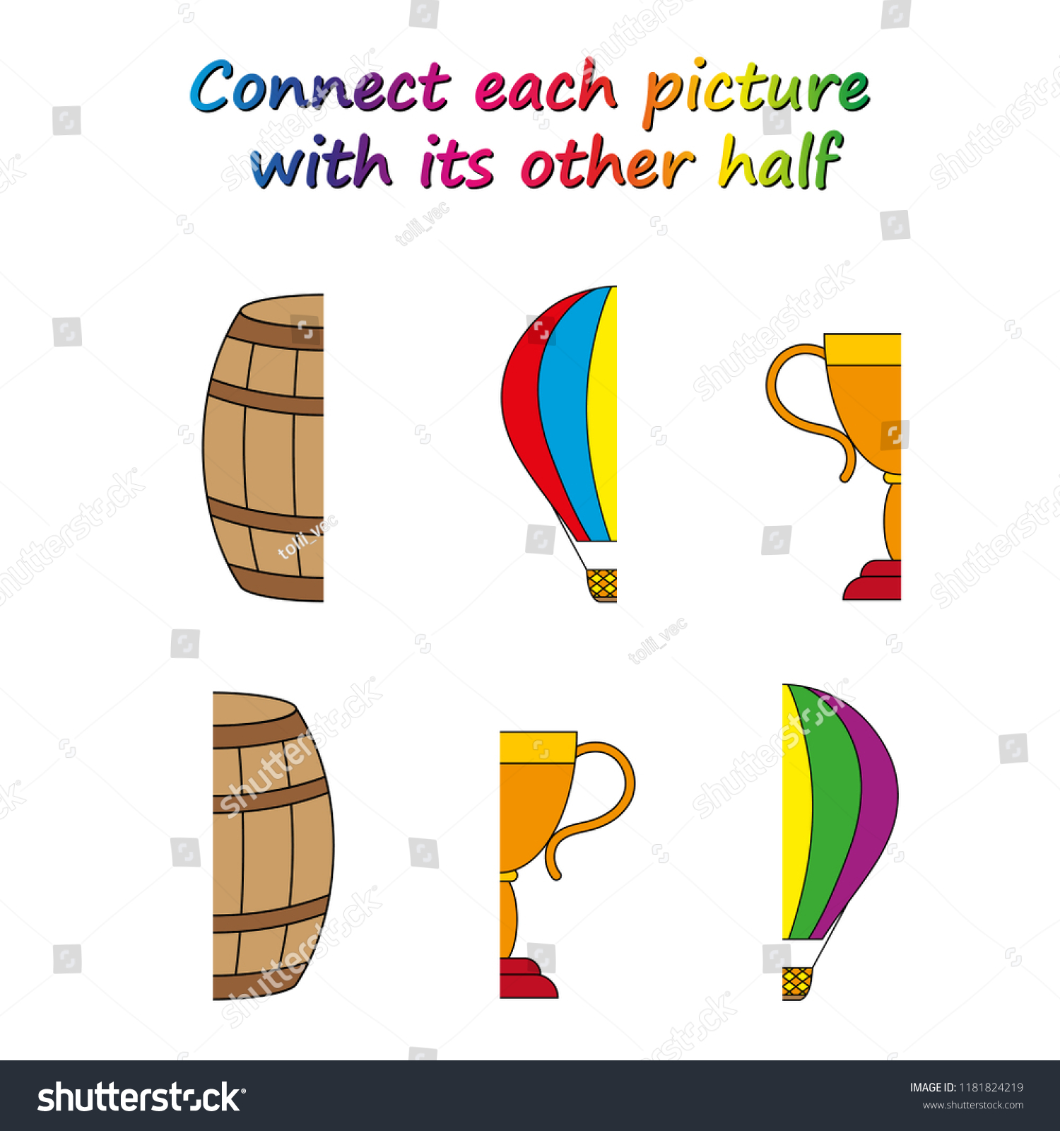 Worksheet Game Kids Connect Each Picture Stock Vector Royalty Free