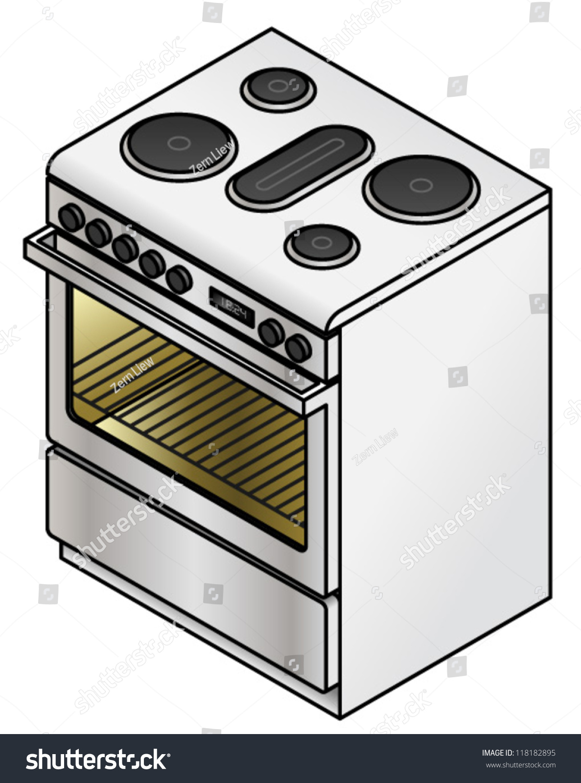 Cartoon Electric Cooker ~ A standalone electric stove with five hot plates oven and
