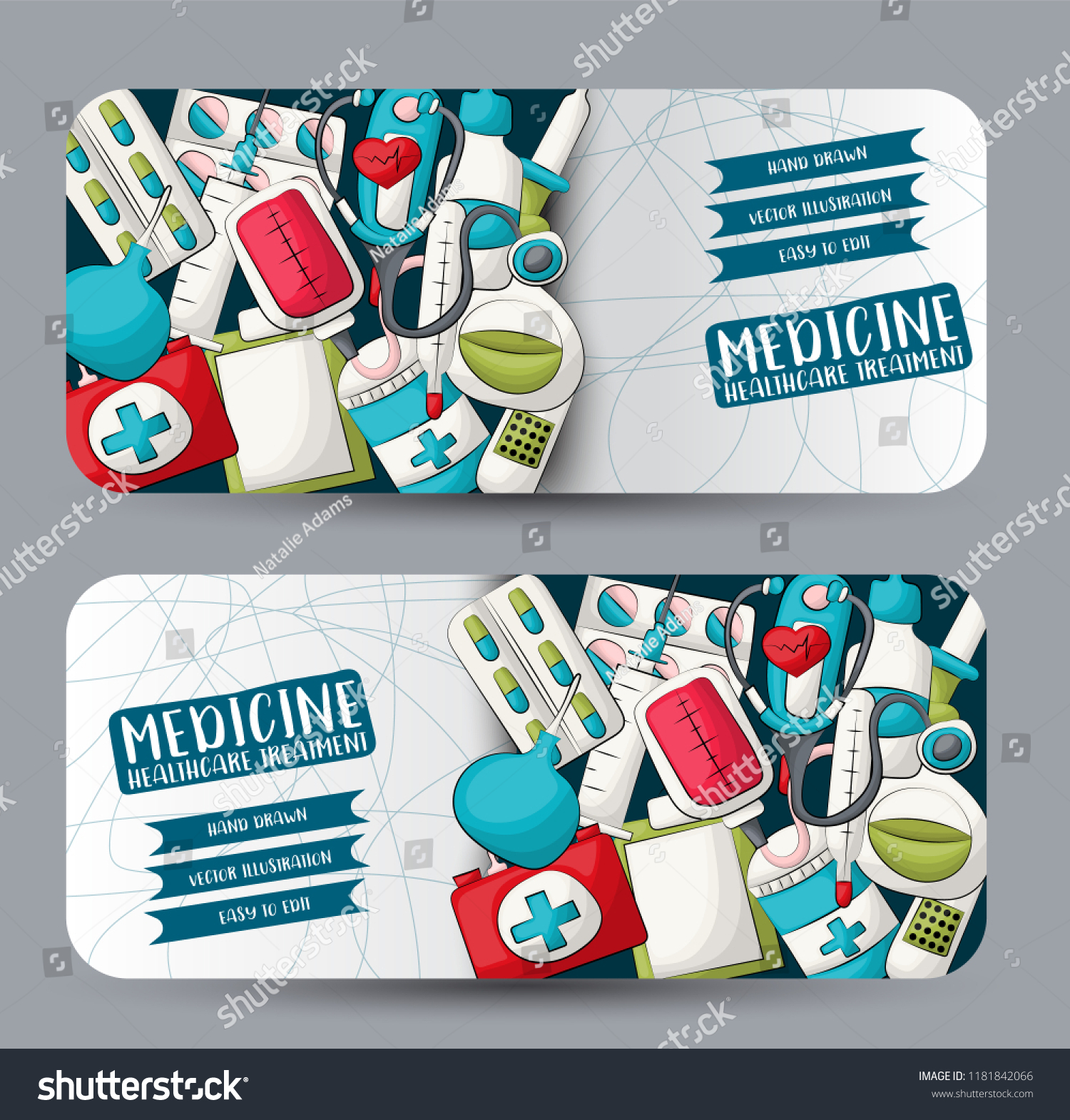 Medicine Healthcare Horizontal Banner Set Cute Stock Vector Royalty Free 1181842066